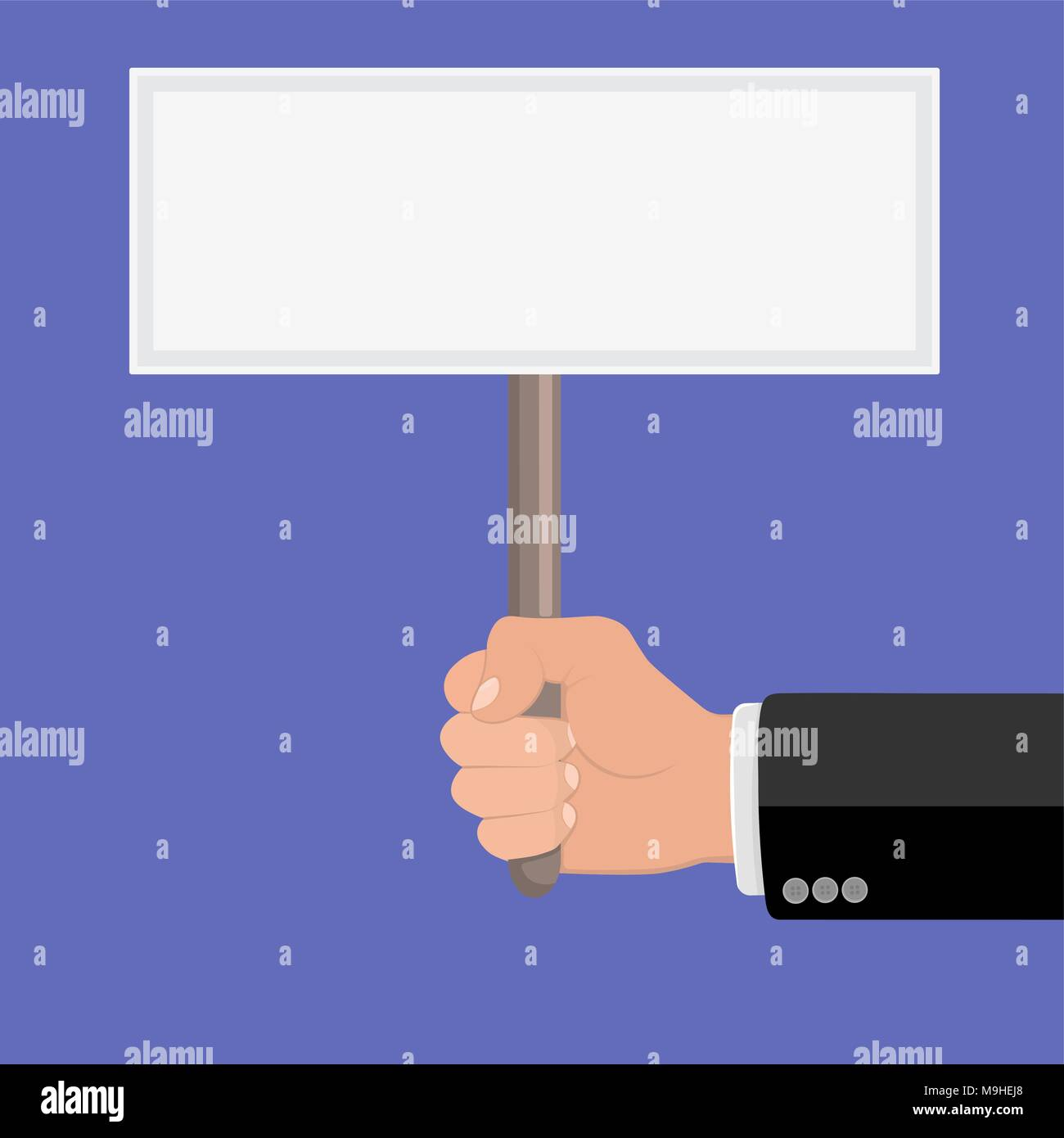 Realistic hand with clenched fist and plate ptotest. Flat design. Fist of revolution and protest. Agitation concept. Hand up. Vector design element Stock Vector