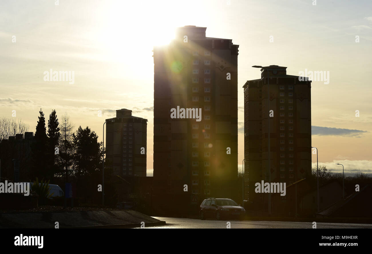 North Lanarkshire council vow to demolish all high rise flats in their council area   Pictured:  Motherwell Wednesday 20th December 2017. Stock Photo