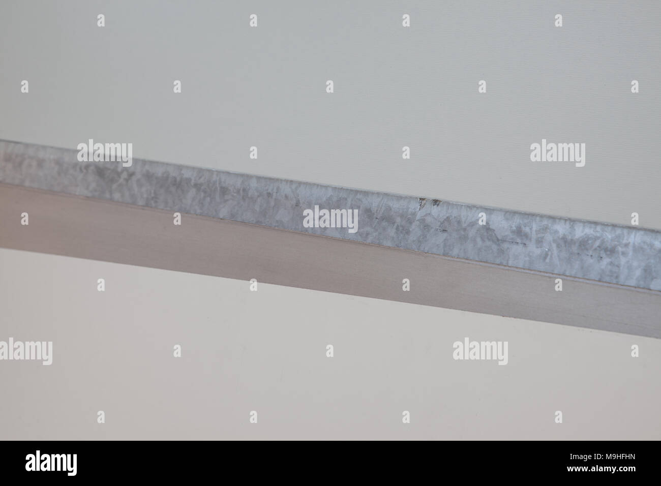 Pieces Galvanized Painted Sheet Metal Background - Stock Image