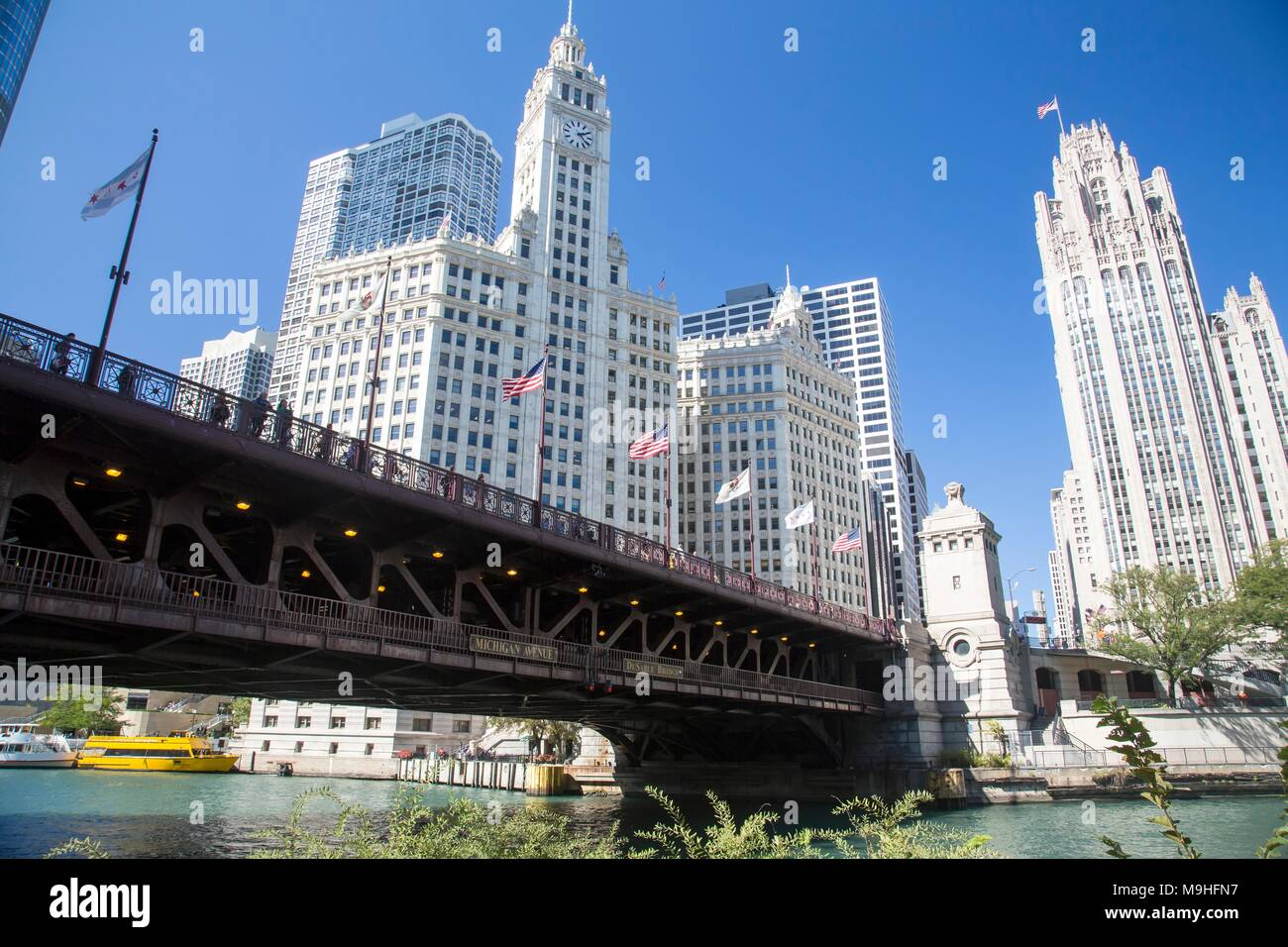 Chicago downtown and the Michigan Avenue Bridge (officially DuSable Bridge) Stock Photo