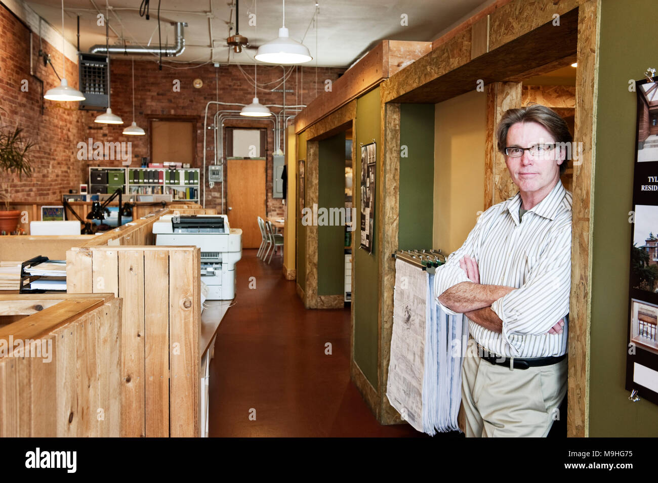 Portrait of a  caucasian male owner of an architect's office. - Stock Image