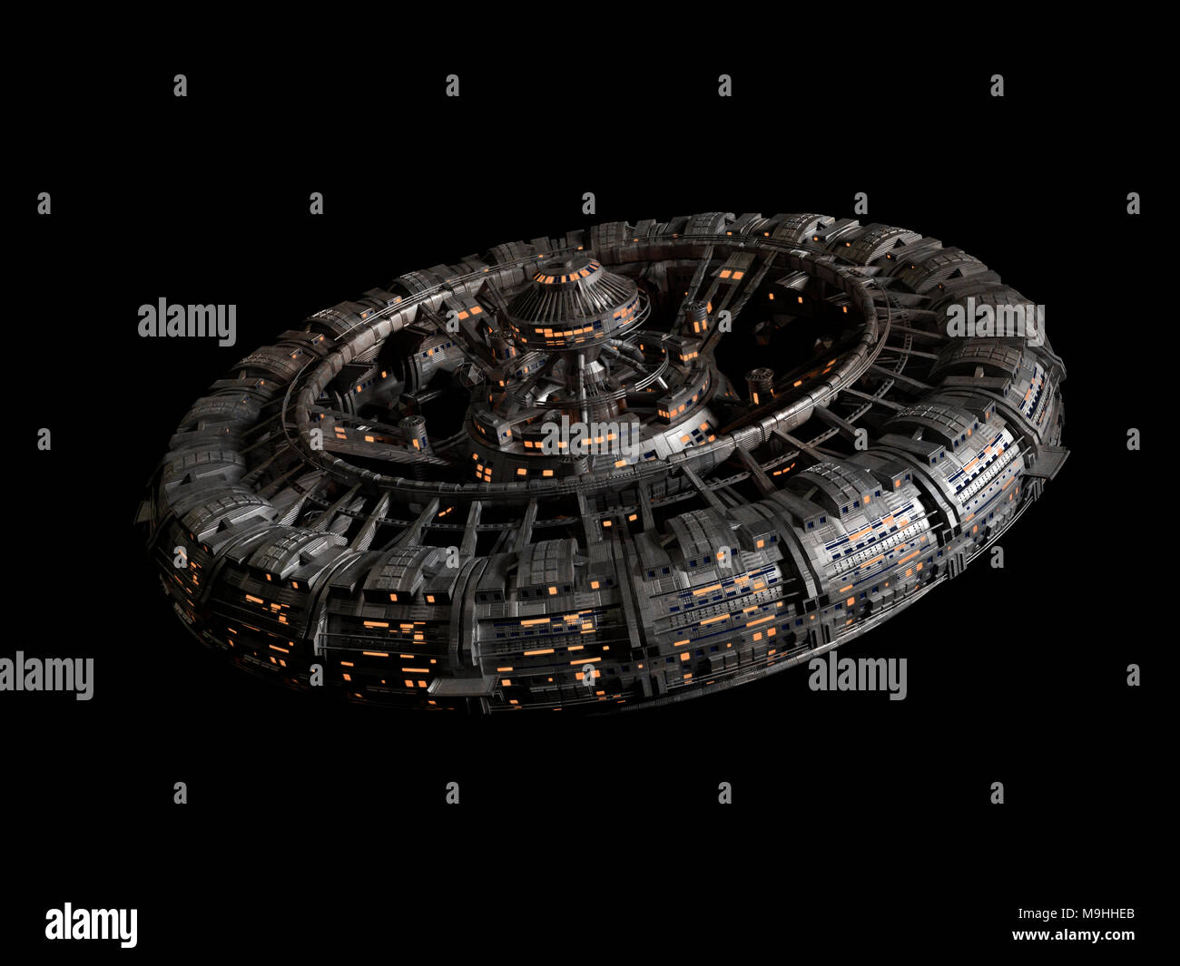 futuristic space station isolated on black background, high detail spaceship disc (3d science fiction rendering) - Stock Image