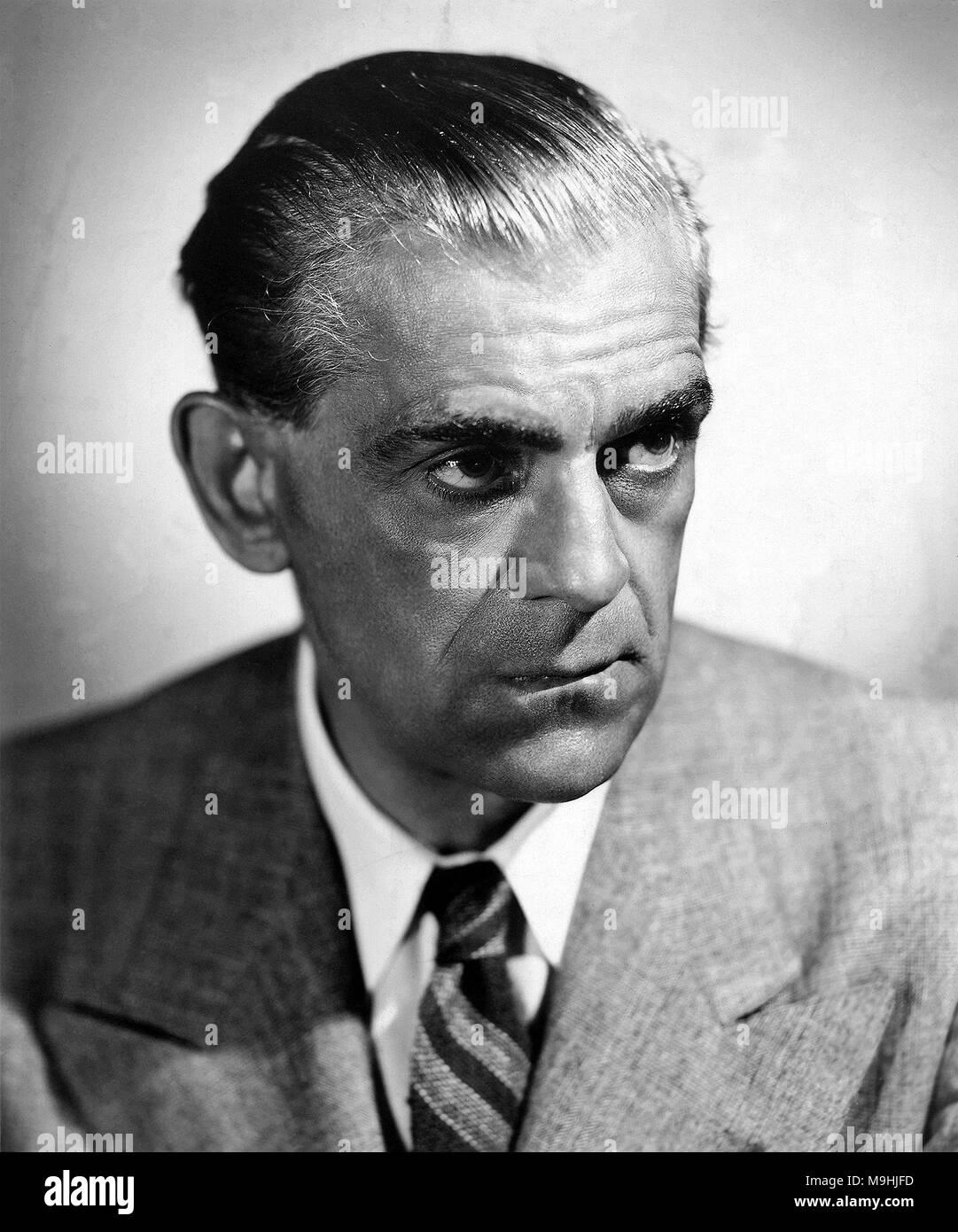 Boris Karloff, circa 1942 William Henry Pratt (1887 – 1969), better known as Boris Karloff, English actor - Stock Image