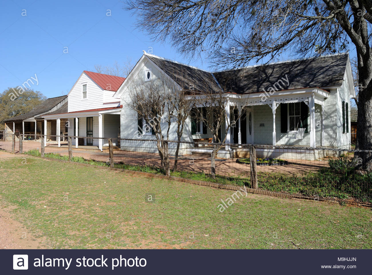 Farm house at Sauer Beckman Living History Farm at Lyndon B. Johnson State Park and Historic Site. Stonewall Texas. Texas Hill Country west of Austin. - Stock Image