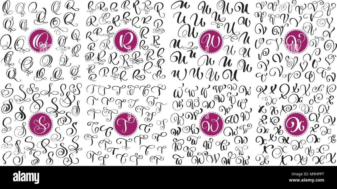 Set Letter Q R S T U V W X Hand Drawn Vector Flourish Calligraphy Script Font Isolated Letters Written With Ink Handwritten Brush Style