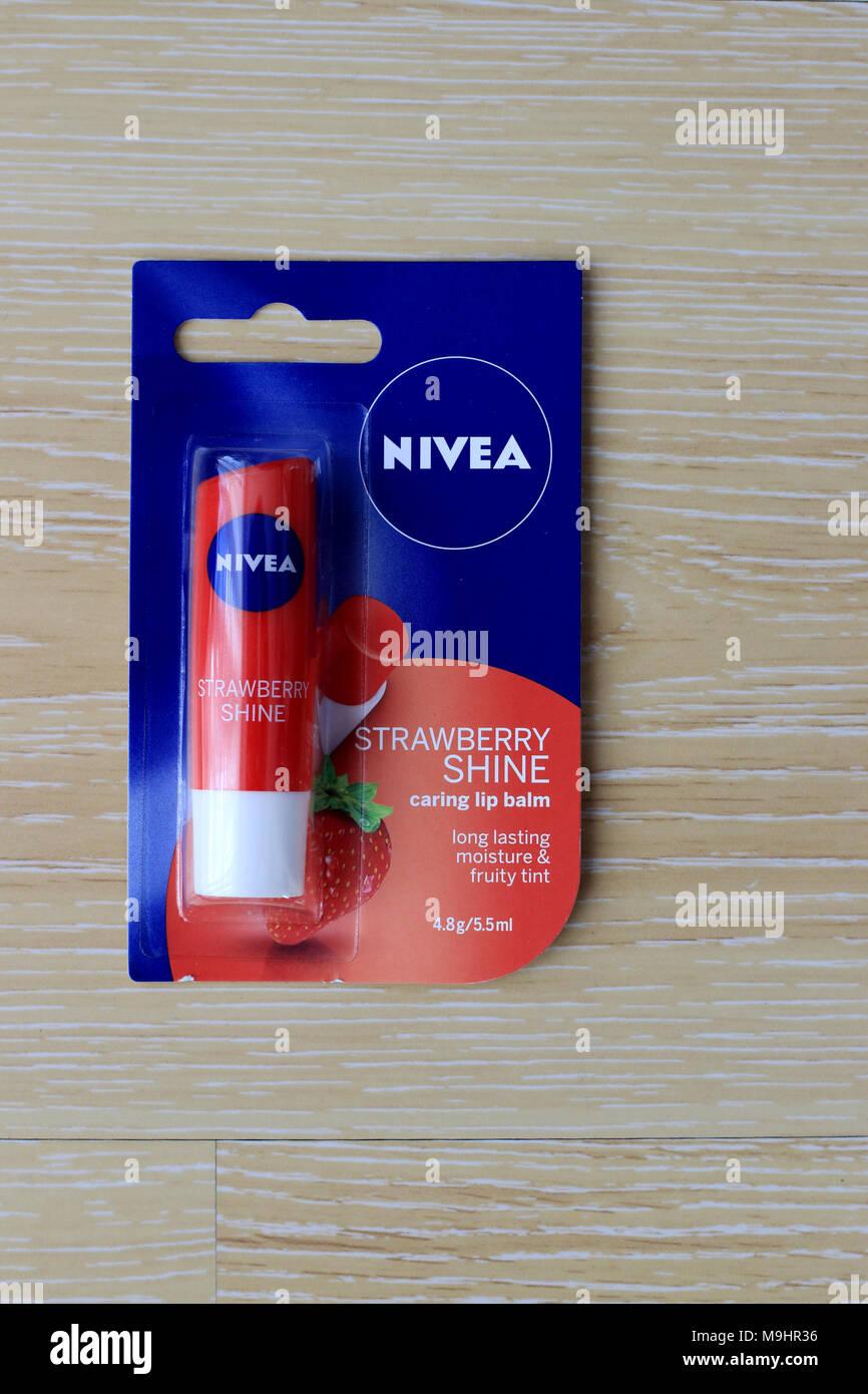 Nivea Strawberry shine Lip balm - Stock Image