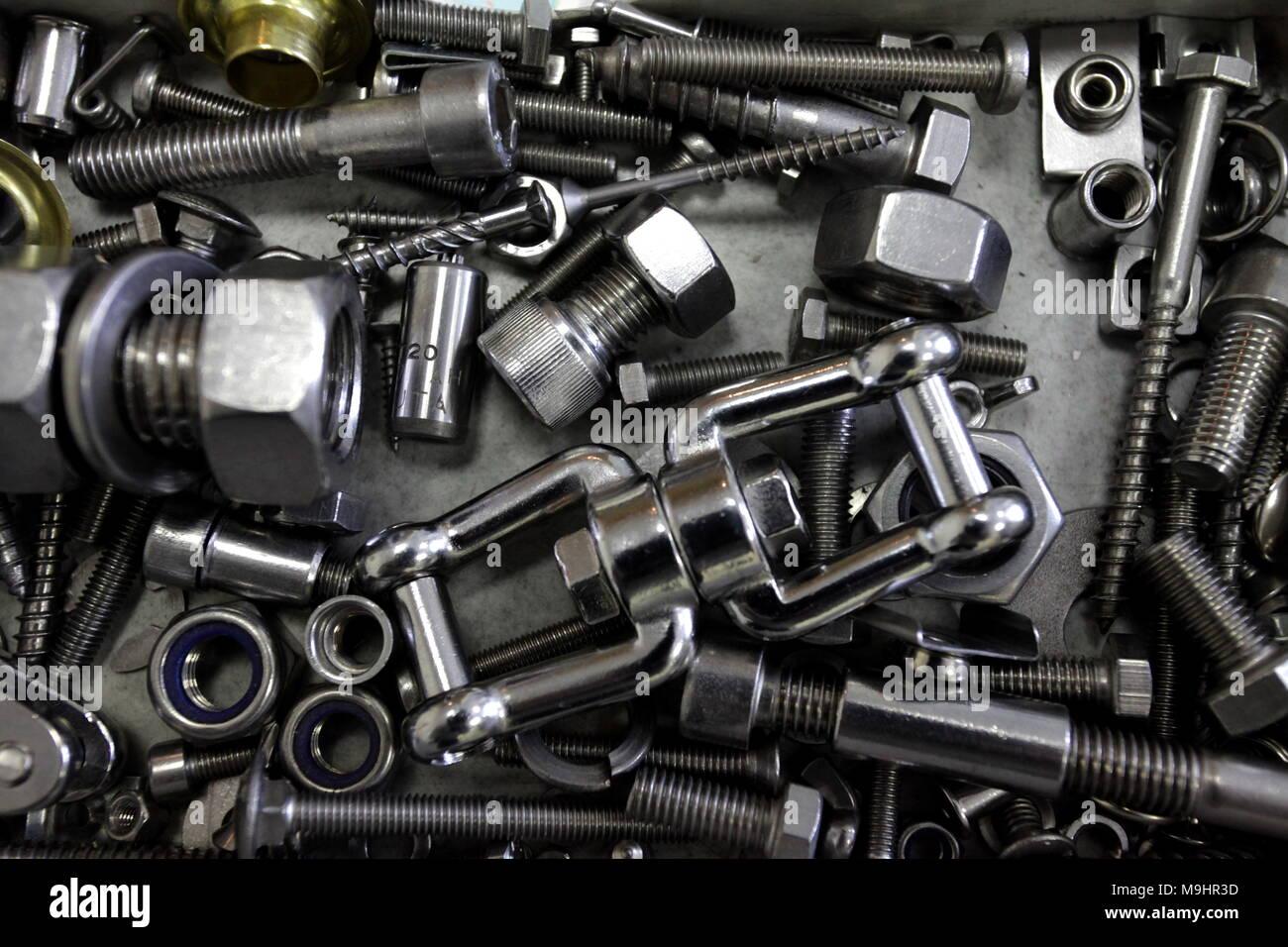 bolts nuts washers hardware background Stock Photo: 178026897 - Alamy