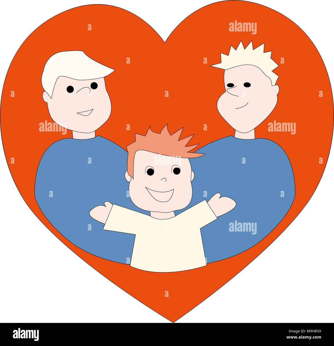 Two gay fathers holding their son. - Stock Vector
