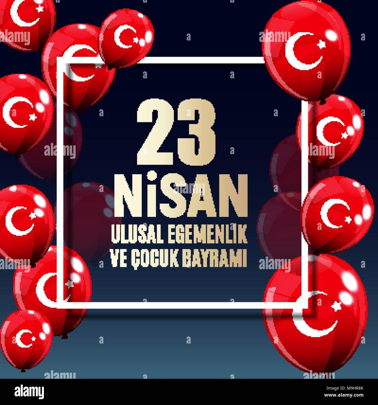 23 April Children's day (Turkish Speak: 23 Nisan Cumhuriyet Bayrami). Vector Illustration - Stock Vector