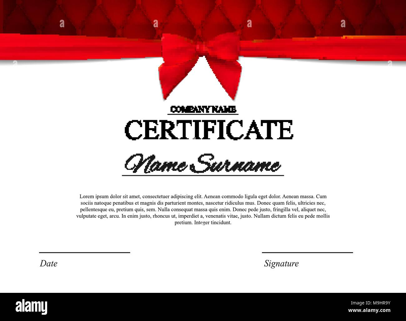 Certificate Template Background With Red Bow Award Diploma Design