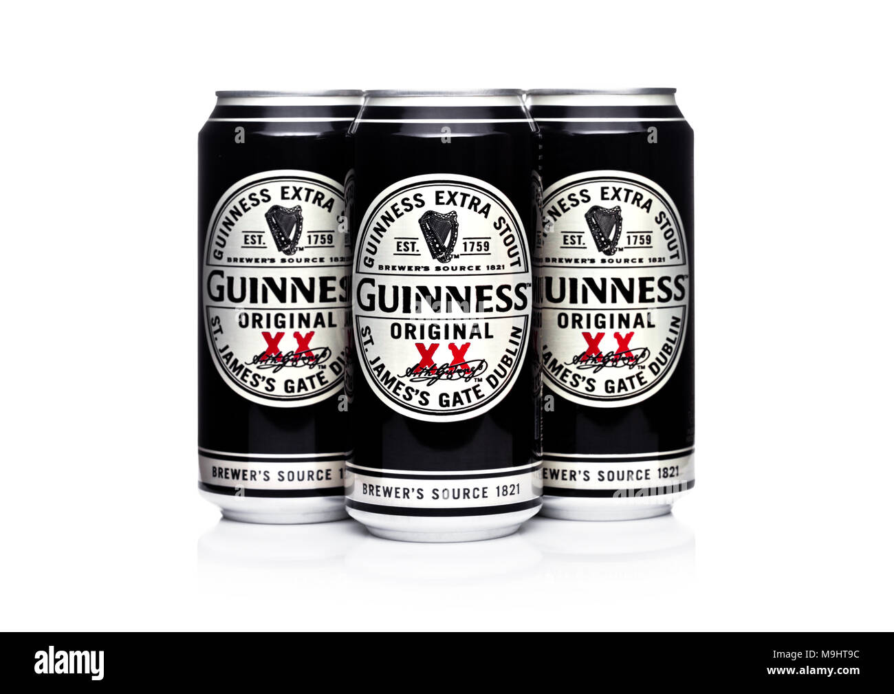 LONDON, UK -MARCH 22, 2018: Aluminium cans of Guinness original beer on white background.Guinness beer has been produced since 1759 in Dublin, Ireland - Stock Image