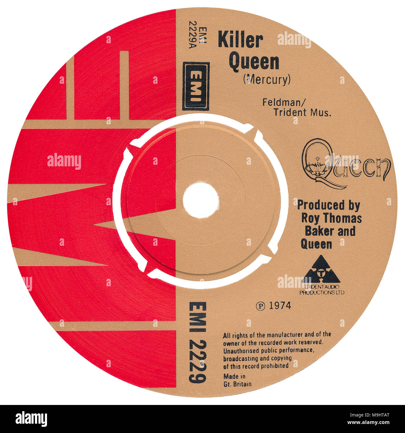 """45 RPM 7"""" UK record label of Killer Queen by Queen. Written by Freddie Mercury and produced by Roy Thomas Baker and Queen. Released in October 1974 on EMI Records. Stock Photo"""