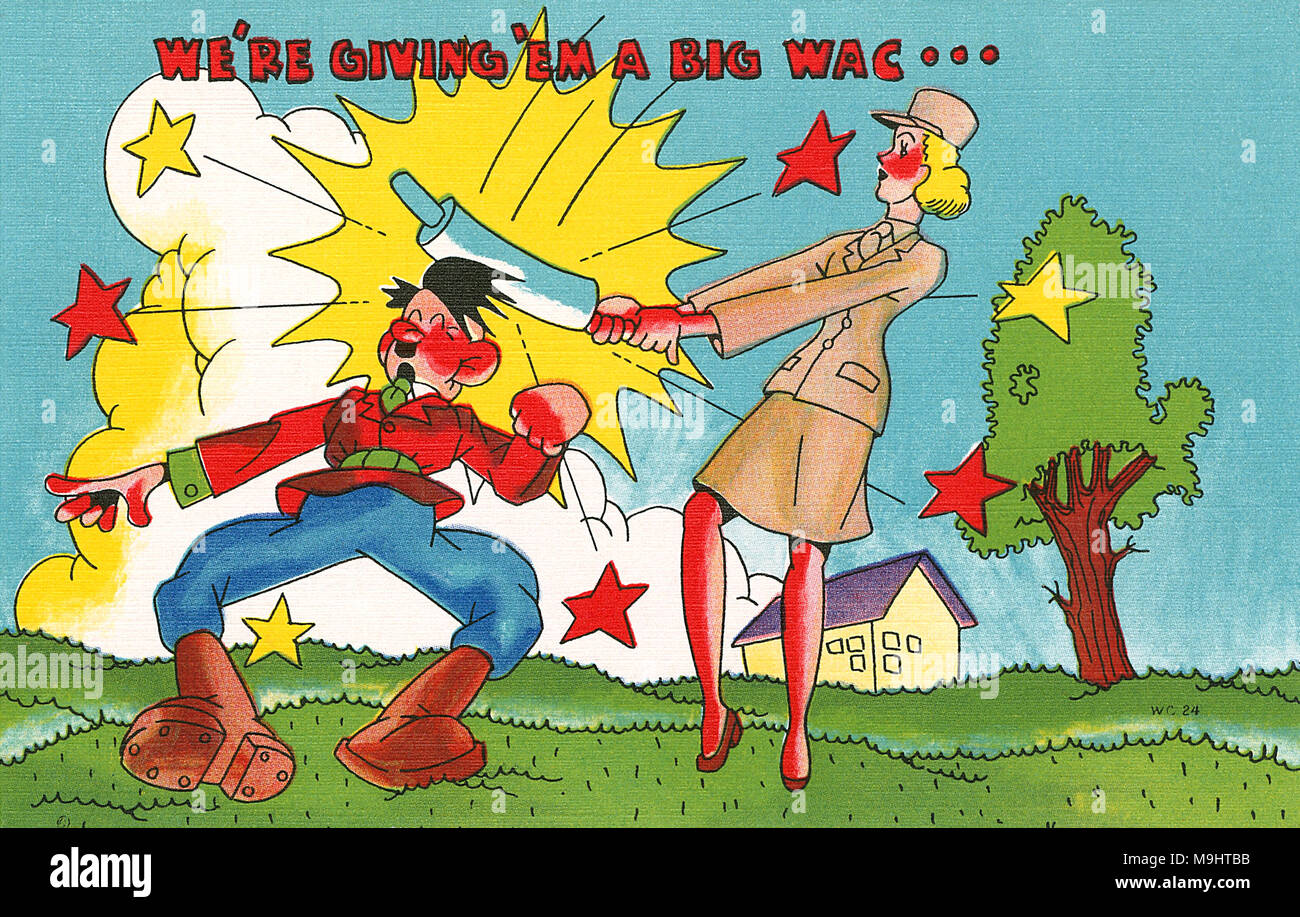 Vintage Second World War U.S. propaganda postcard. Published by the Asheville Post Card Co, Asheville NC. - Stock Image
