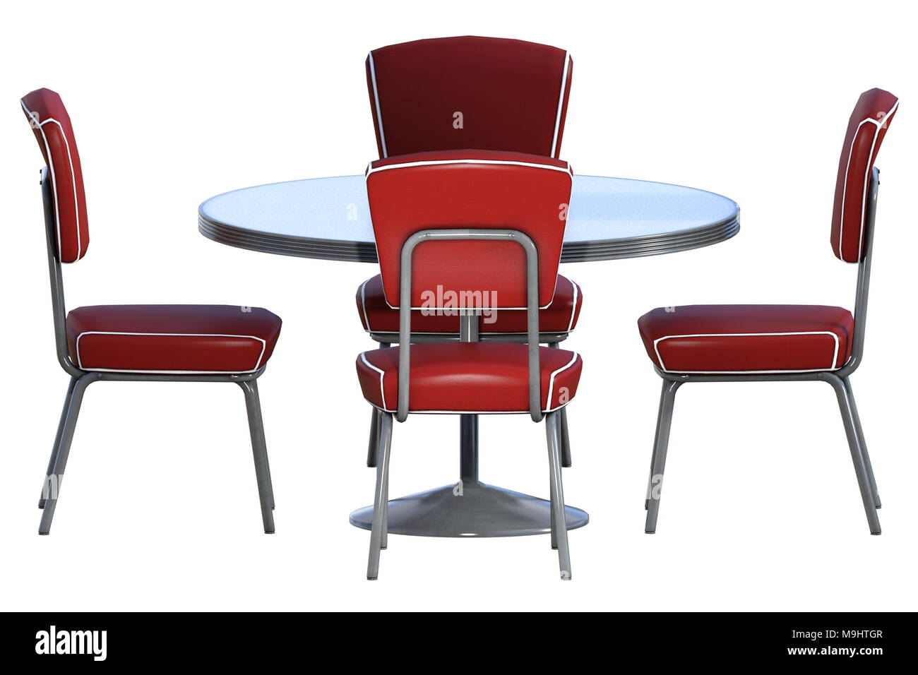 1950 S Retro Diner Table And Chairs Isolated On White 3d Render Stock Photo Alamy