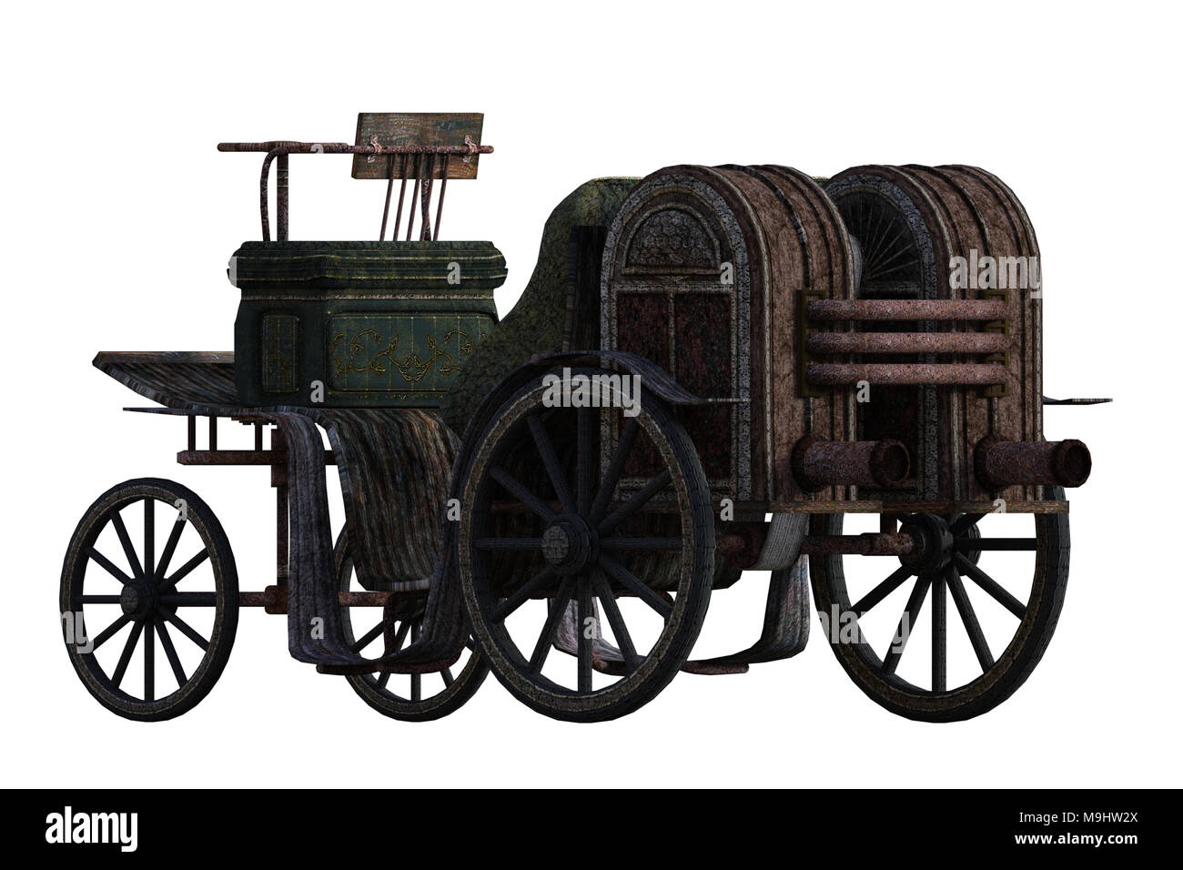 Old vintage carriage isolated on white, 3d render - Stock Image