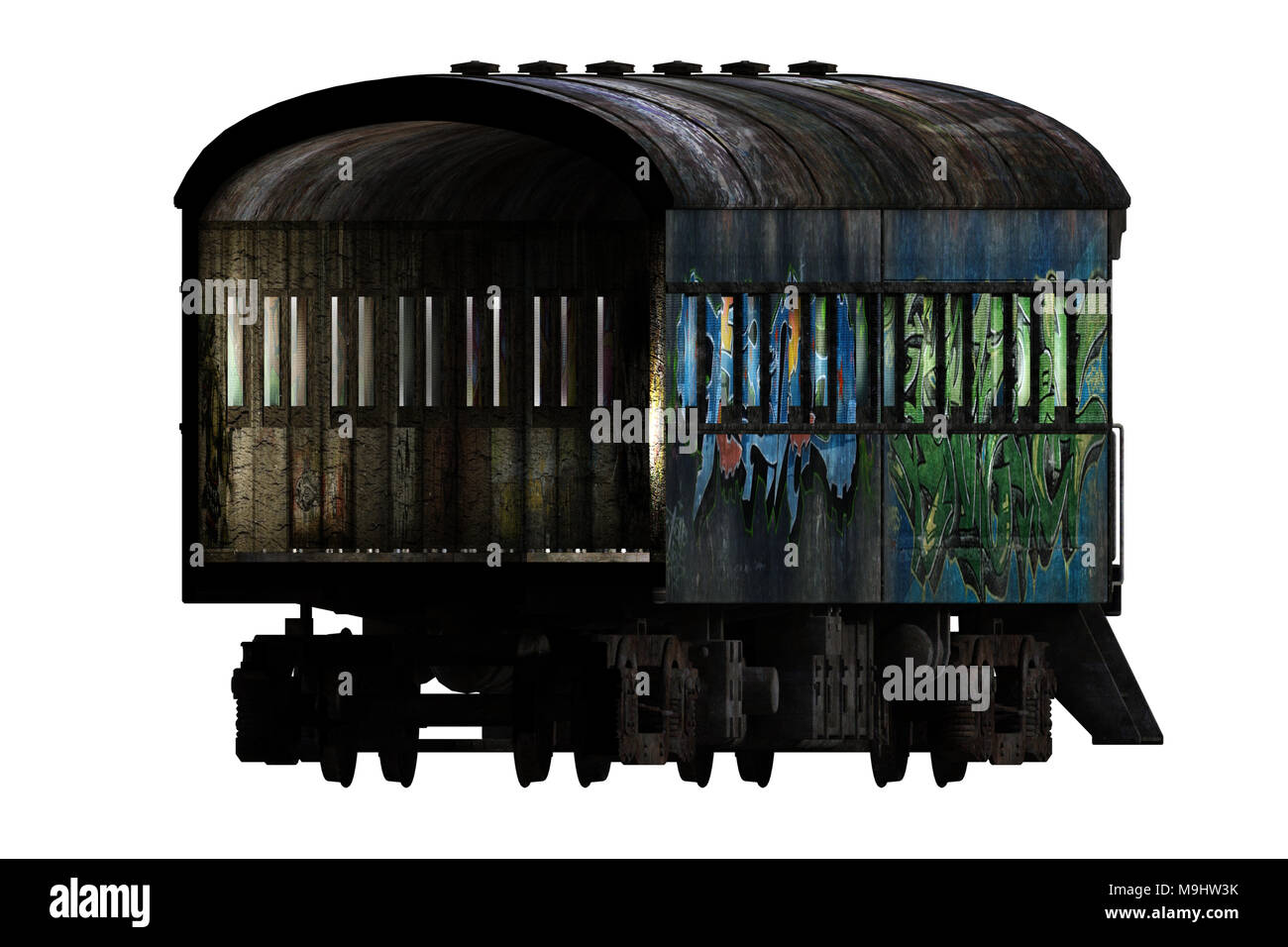 Old rundown train carriage isolated on white, 3d render - Stock Image