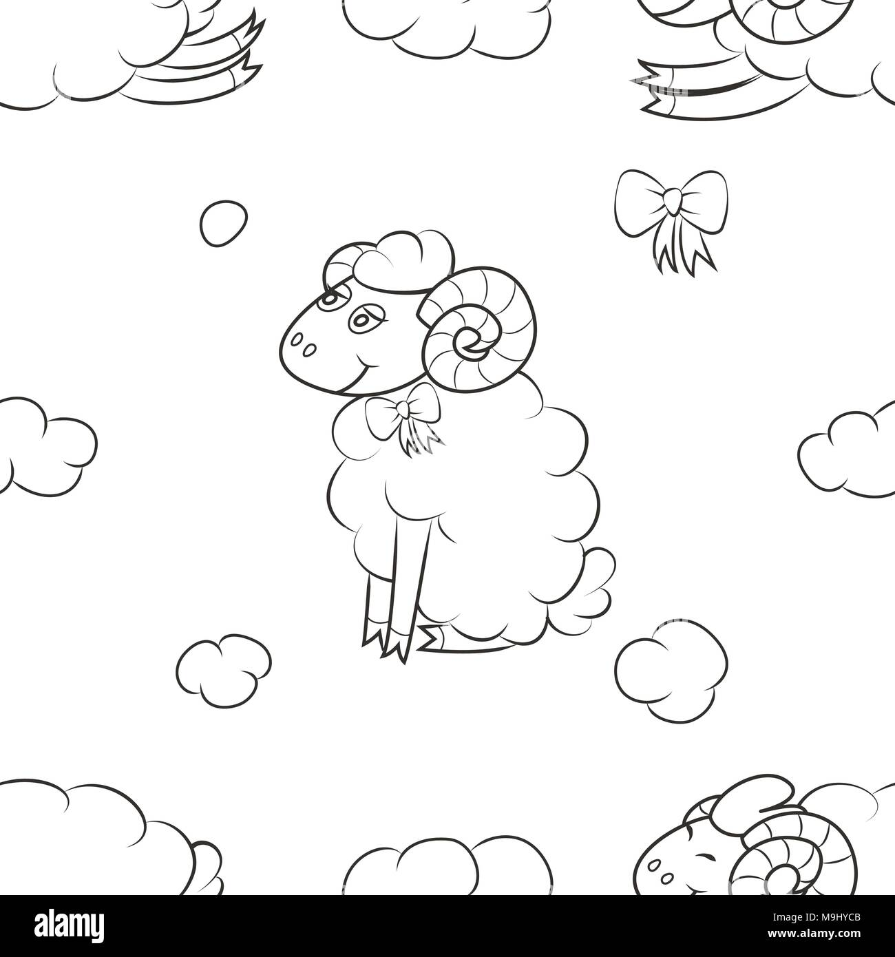 Fluffy sheep flying in the clouds - Stock Image