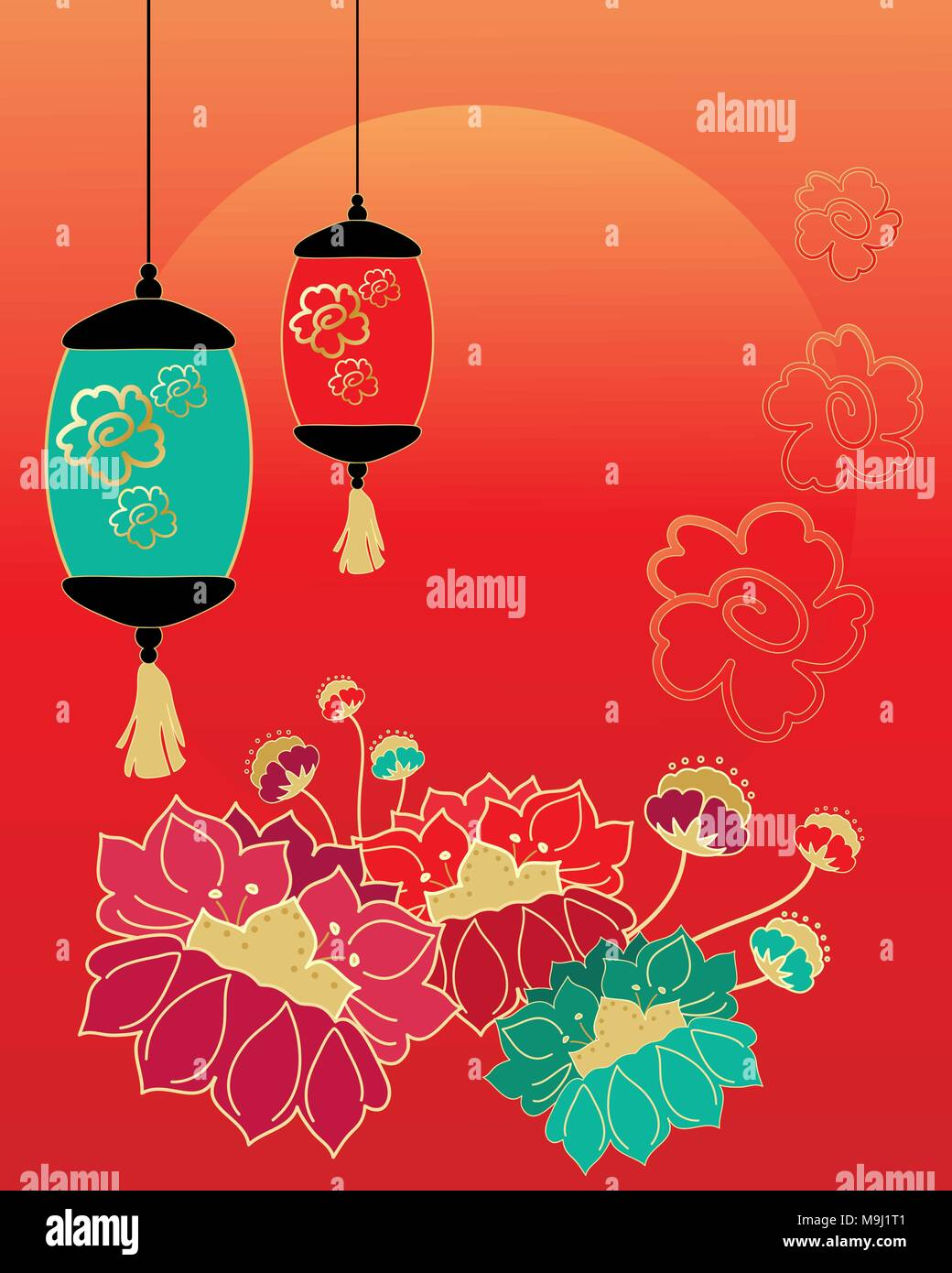 an illustration of a chinese new year celebration greeting card design with stylized flowers lanterns and a rising sun stock vector image art alamy https www alamy com an illustration of a chinese new year celebration greeting card design with stylized flowers lanterns and a rising sun image178032177 html