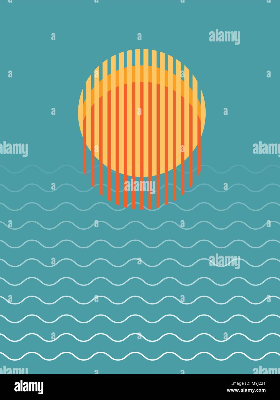Minimalist Beautiful Sunset Over Ocean Vector Illustration - Stock Vector
