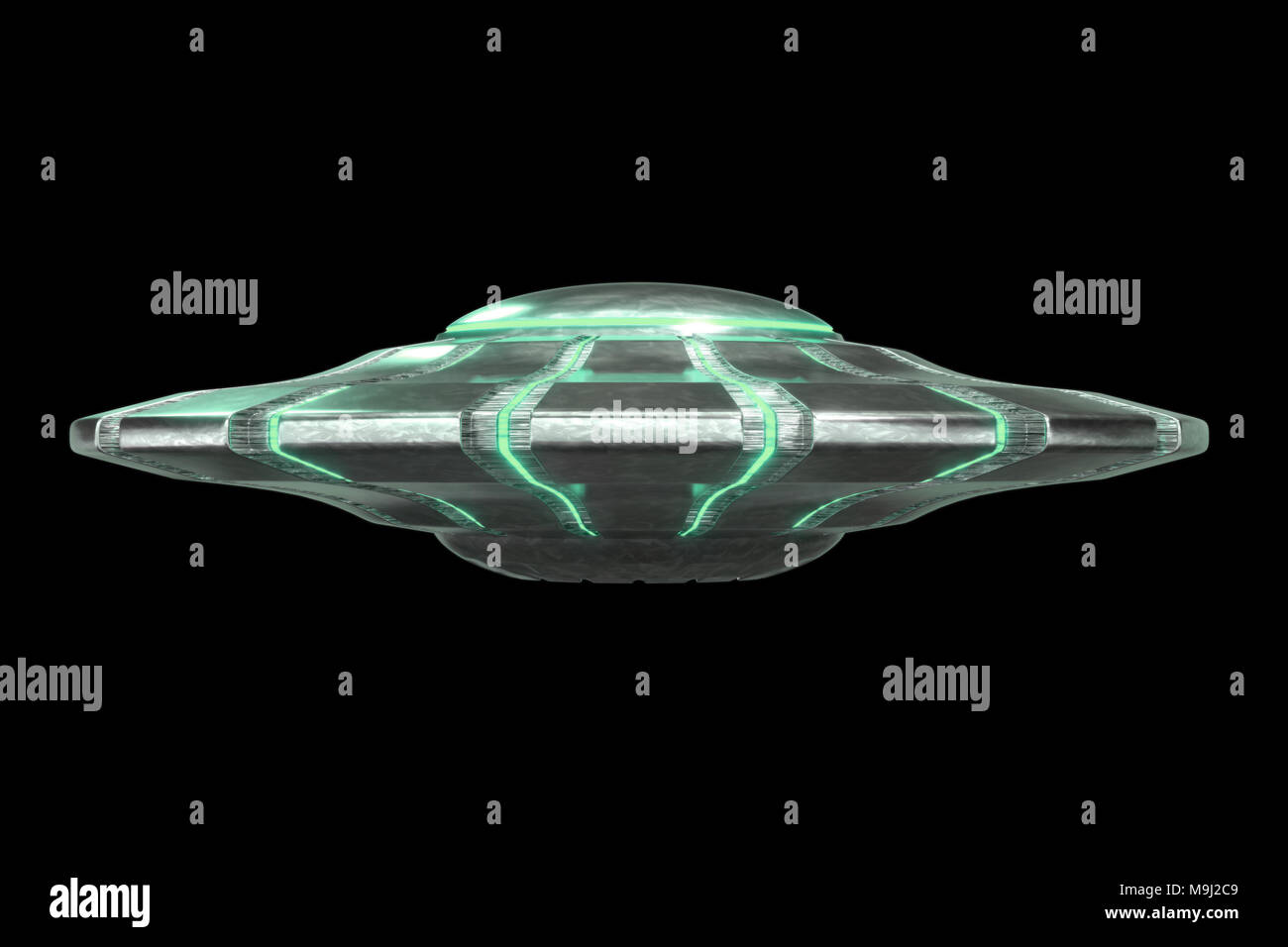 Ufo Mysterious Green Alien Spaceship Extraterrestrial Visitors With Flying Saucer 3d Science Fiction Space Render Isolated On Black Background Stock Photo Alamy