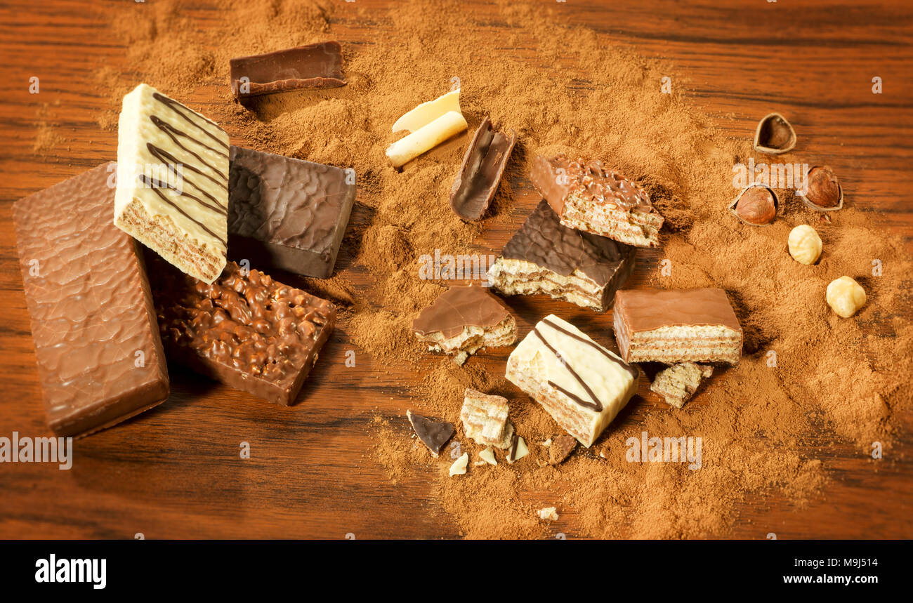Various types of Chocolate Wafers - Stock Image
