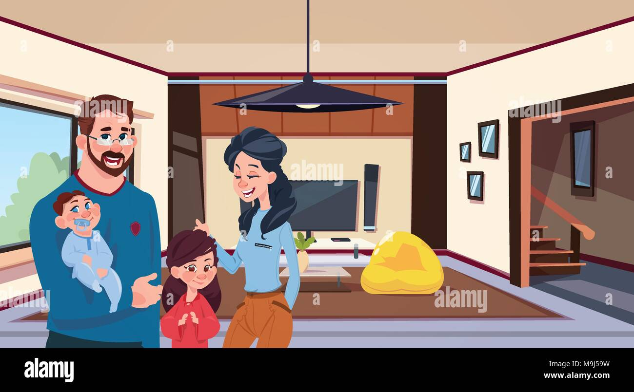 Young Family Parents With Two Kids In Modern Living Room At Home - Stock Vector