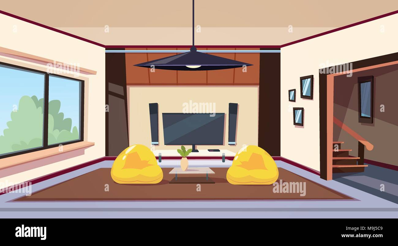 Modern Living Room Interior With Bean Bag Chairs And And Big Led Televison Set On Wall Home Cinema - Stock Vector