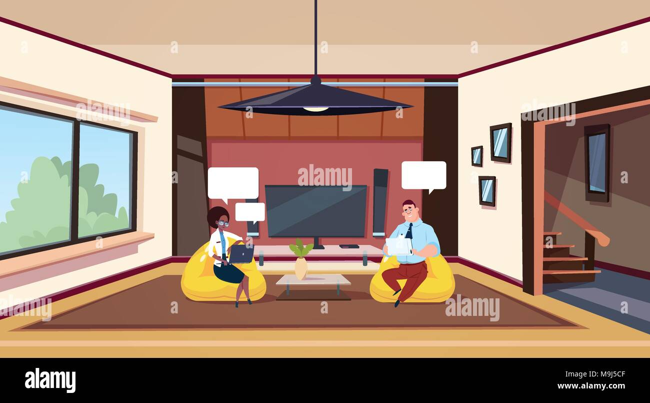 Couple Working On Computers Sit In Bean Bag Chairs In Modern Living Room - Stock Vector