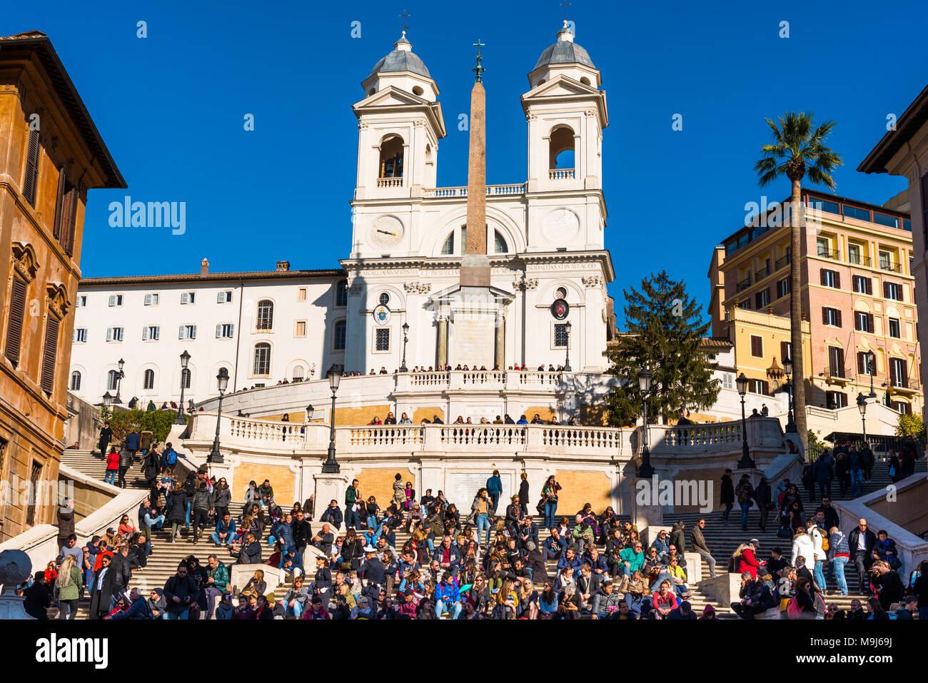 The Spanish Steps (Scalinata di Trinità dei Monti), Rome, Italy, between Piazza di Spagna and Piazza Trinità dei Monti & Trinità dei Monti church. - Stock Image