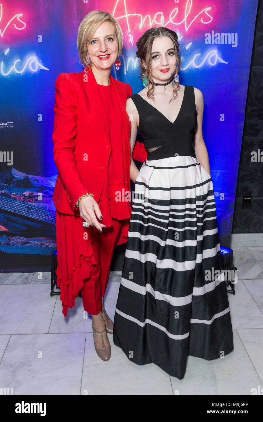 New York, NY - March 25, 2018: Marianne Elliott, Eve Sidi attend revival of Angels in America play after party at Espace - Stock Image