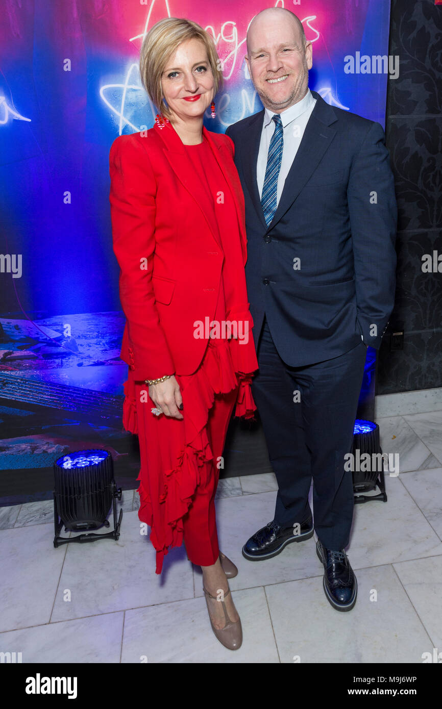 New York, NY - March 25, 2018: Marianne Elliott, Chris Harper attend revival of Angels in America play after party at Espace - Stock Image