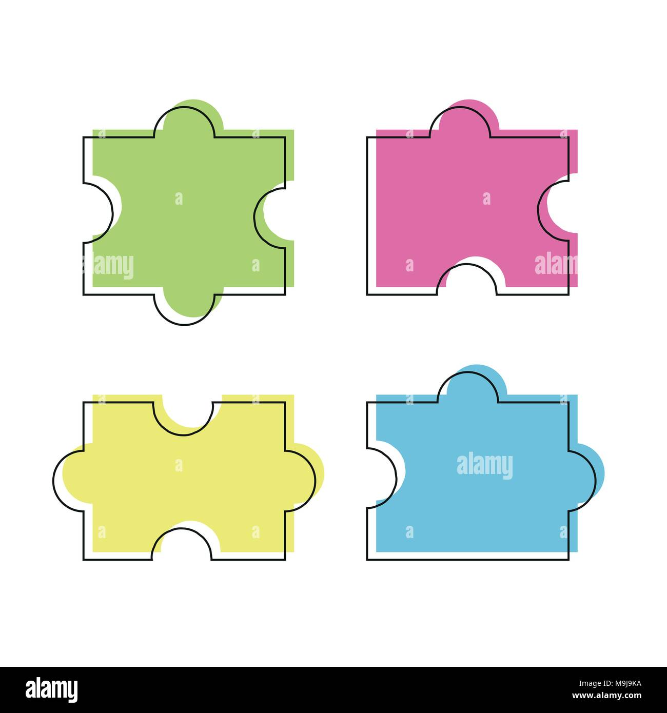 Four puzzle colored pieces vector illustration, isolated on white background Stock Vector