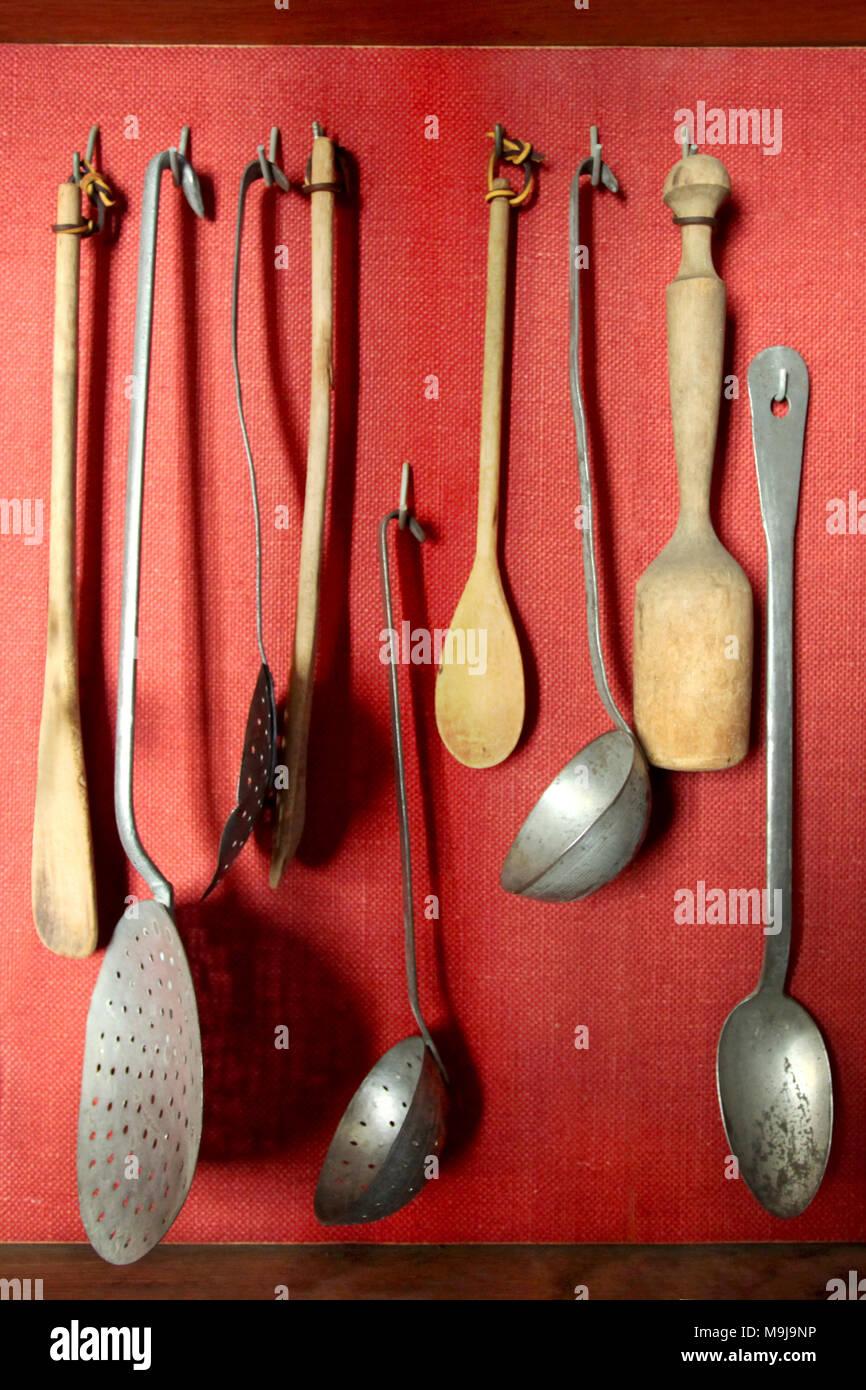 Vintage Utensils hanging - Stock Image