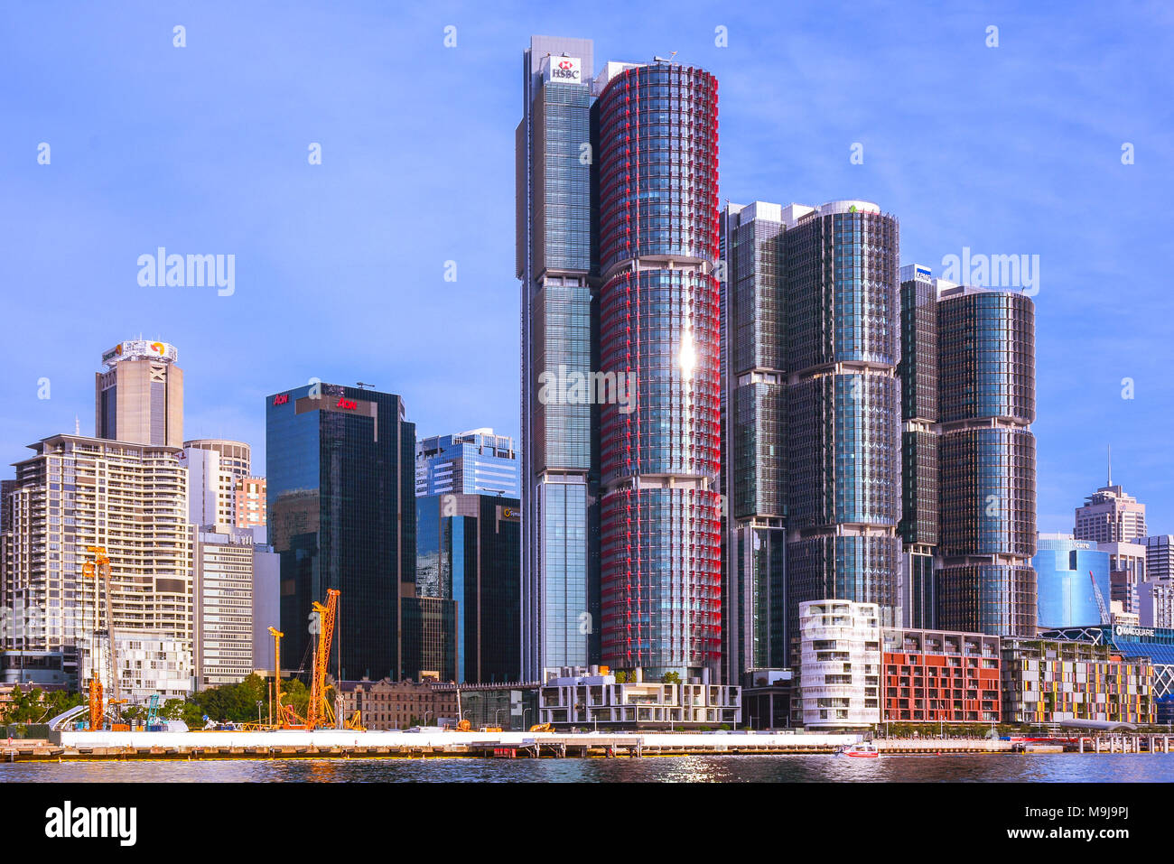 High Rises in Barangarro suburb of Sydney, by the Sydney Harbour - Stock Image