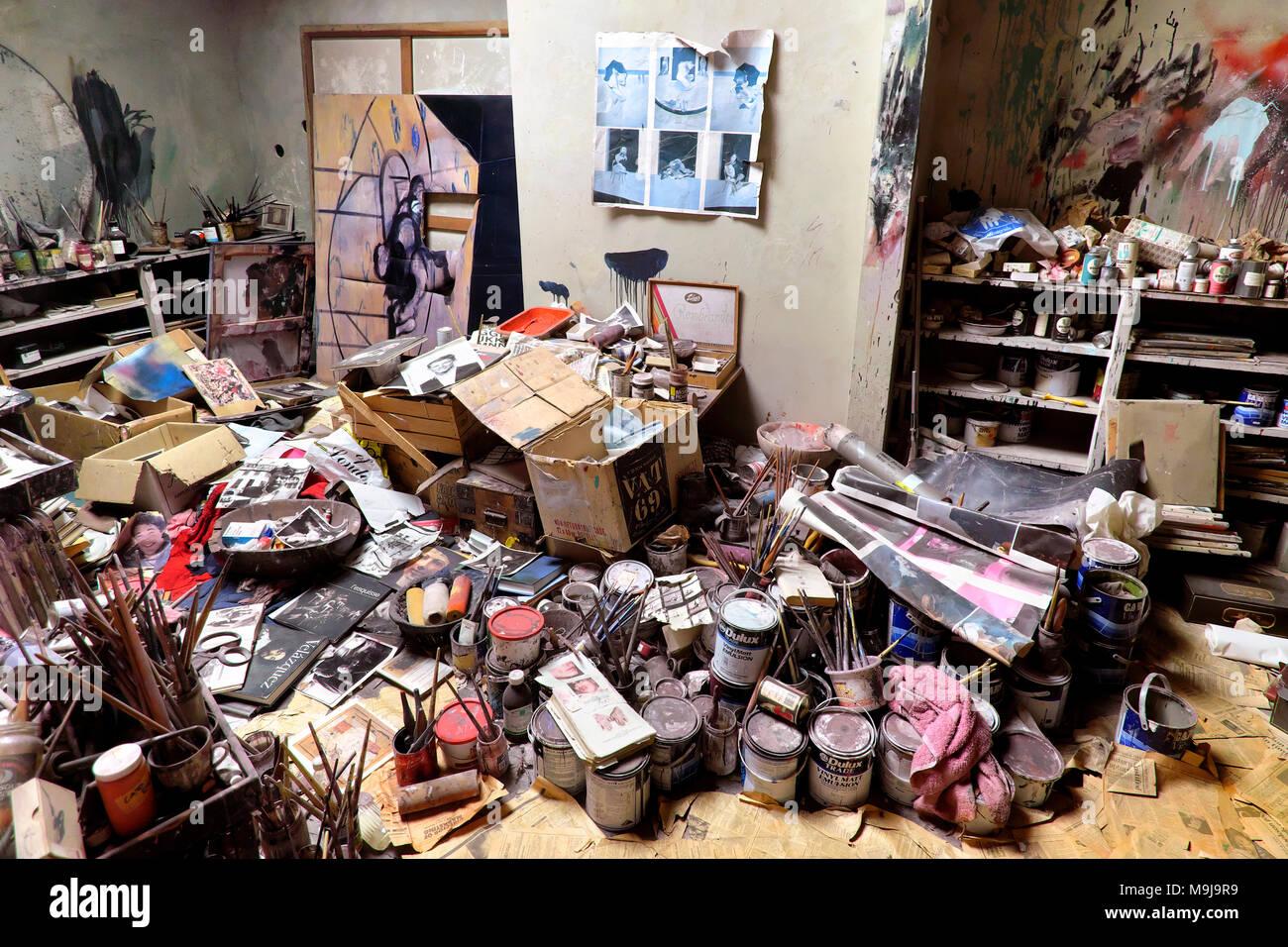 Francis Bacon Studio - reconstructed studio of painter Francis Bacon, Dublin City Gallery The Hugh Lane, Dublin, Ireland - Stock Image