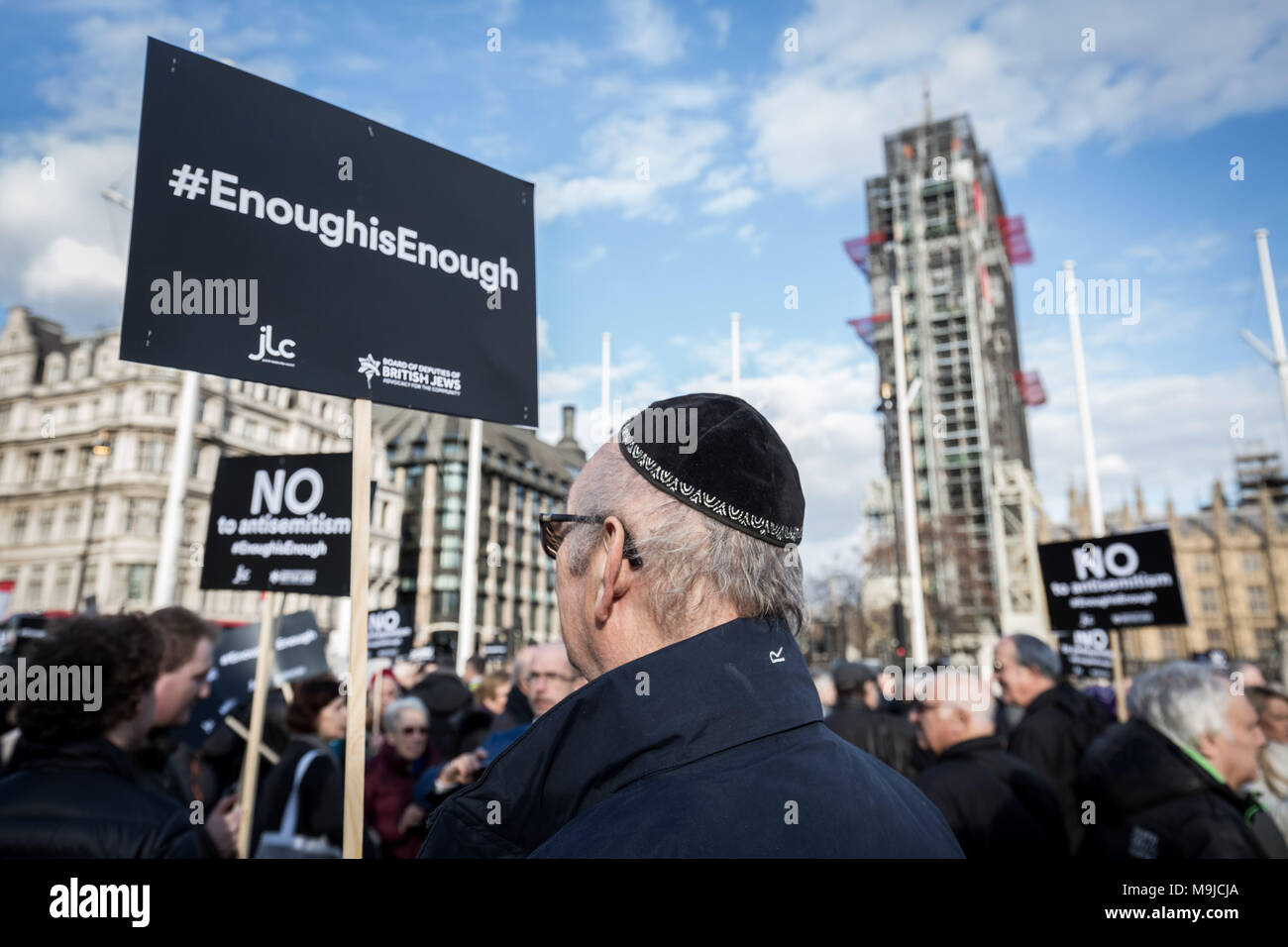 London, UK. 26th March, 2018. Hundreds of protesters, including members of the Jewish community, demonstrate against antisemitism in Parliament Square. Labour leader Jeremy Corbyn has conceded that there is a problem with antisemitism within the Labour party that the party has still yet to resolve. Credit: Guy Corbishley/Alamy Live News - Stock Image