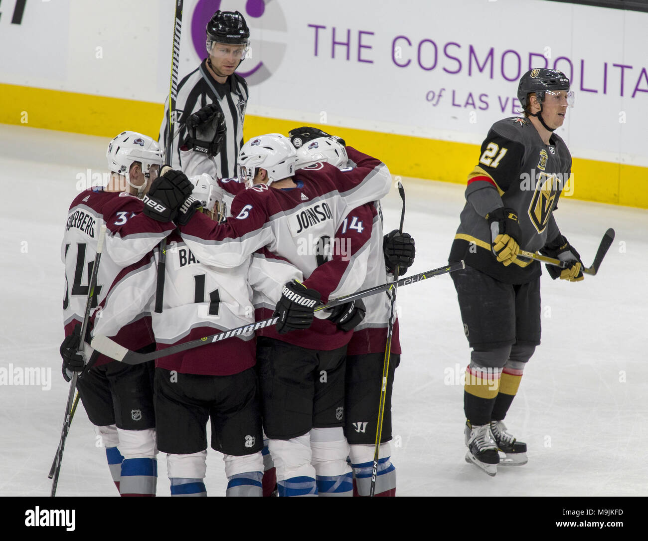 The Colorado Avalanche celebrate a goal on Vegas Golden Knights goaltender  Marc-Andre Fleury (29) during the second period of an NHL game at T-Mobile  Arena ... 4b5ebb504