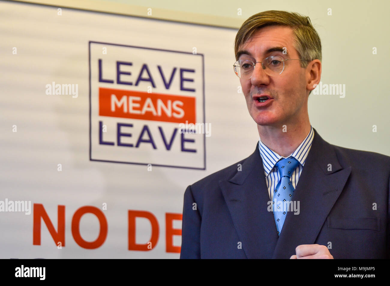 """London, United Kingdom. 27 March 2018. Jacob Rees-Mogg gives a major Brexit speech at a Leave Means Leave event in central London. Tory MP Rees-Mogg slammed Brussels for its """"bullying"""" approach and said that they have entered negotiations """"in the spirit of they know best and we must do as we are told"""".  Credit: Peter Manning/Alamy Live News - Stock Image"""