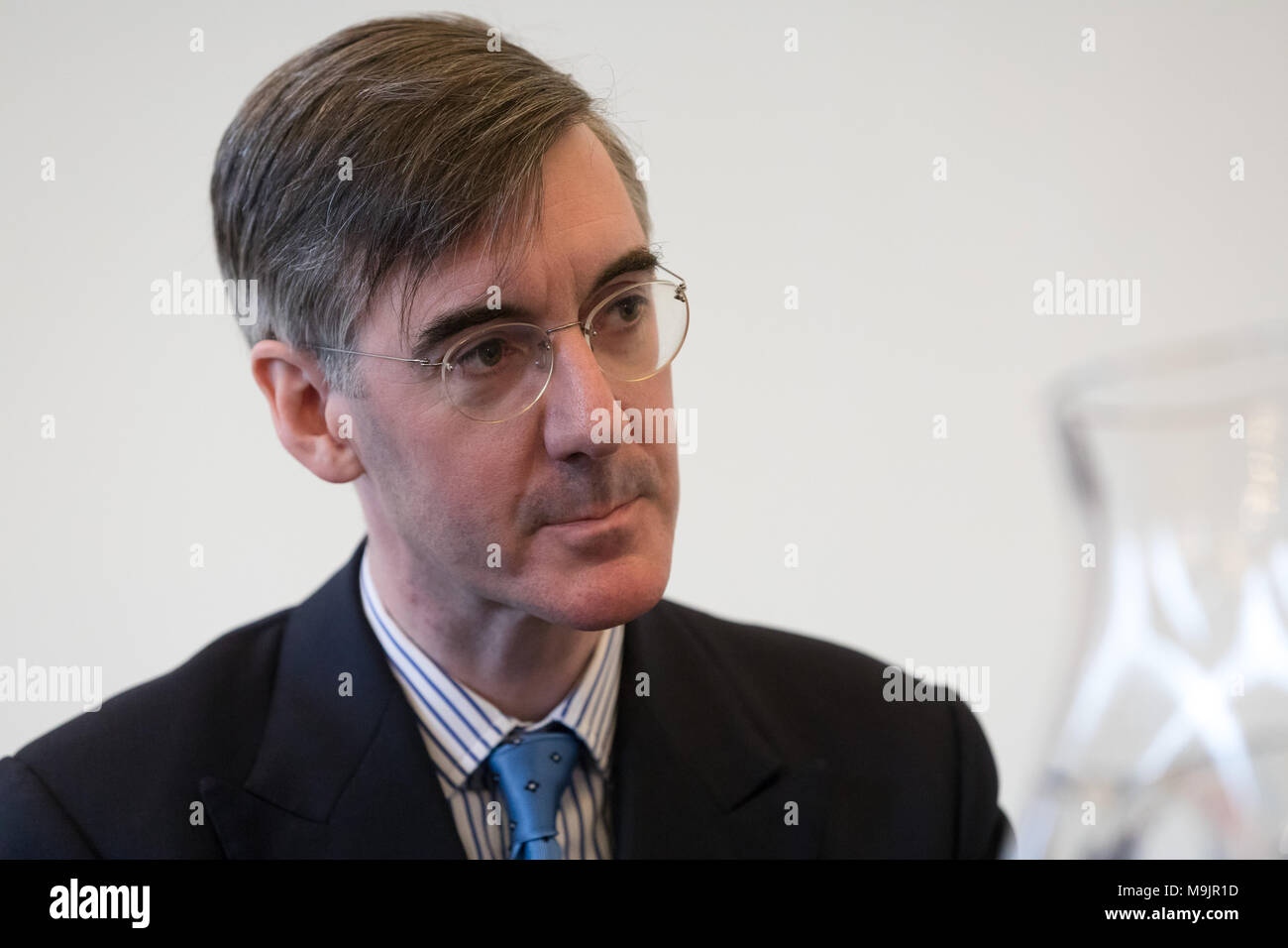 London, UK. 27th March 2018. Jacob Rees-Mogg speaks at a pro Brexit event organised by the campaign group, Leave Means Leave. Credit: Vickie Flores/Alamy Live News - Stock Image