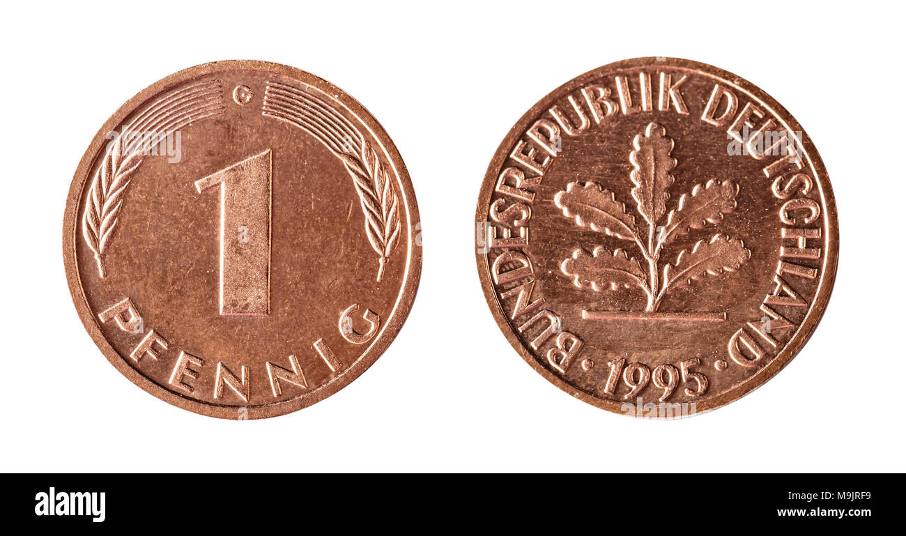 One Pfennig 1995, Germany. Isolated object on a white background. - Stock Image