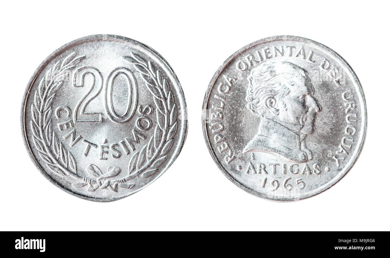 Uruguay 20 centesimo 1965. Isolated object on a white background. - Stock Image
