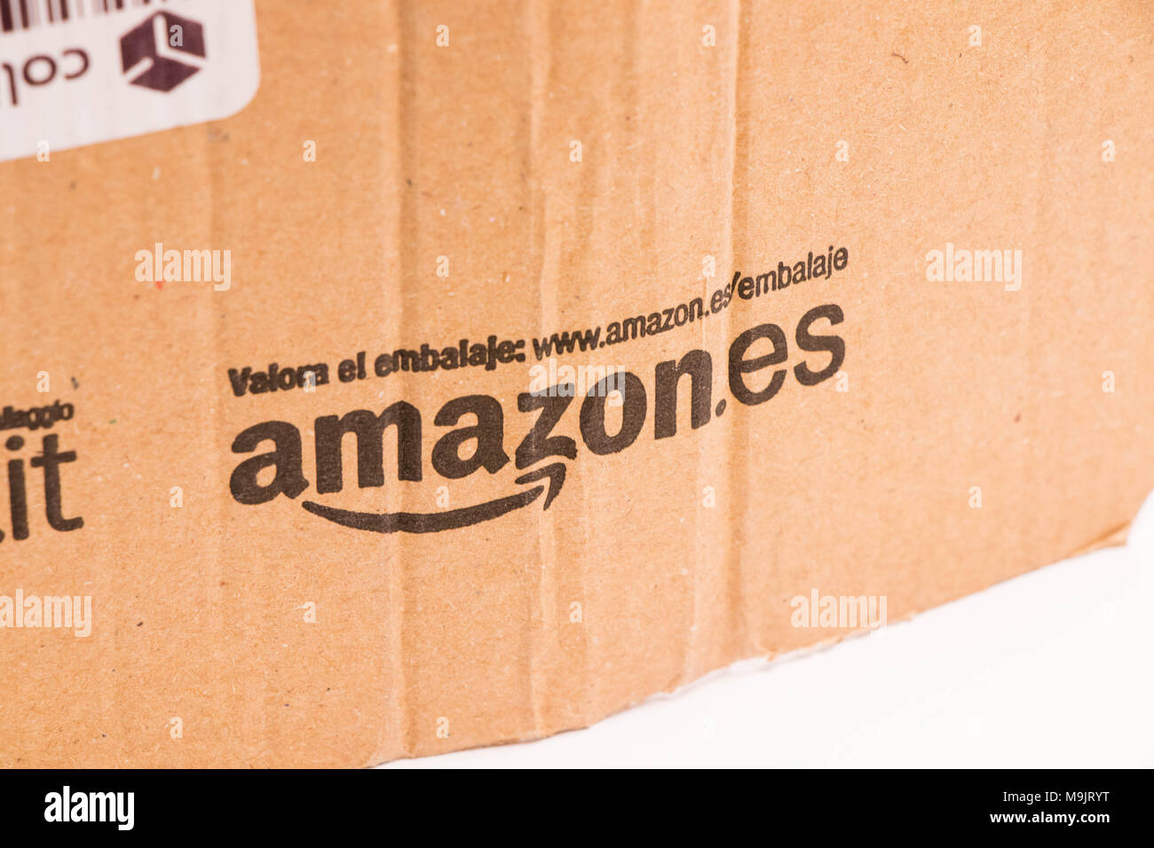 Amazon card board package mail espagna - Stock Image