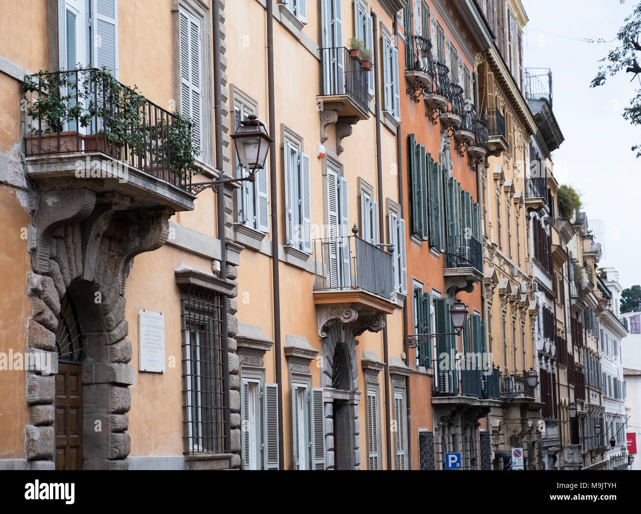 Houses on the Via Gregorianain Rome Italy. Stock Photo