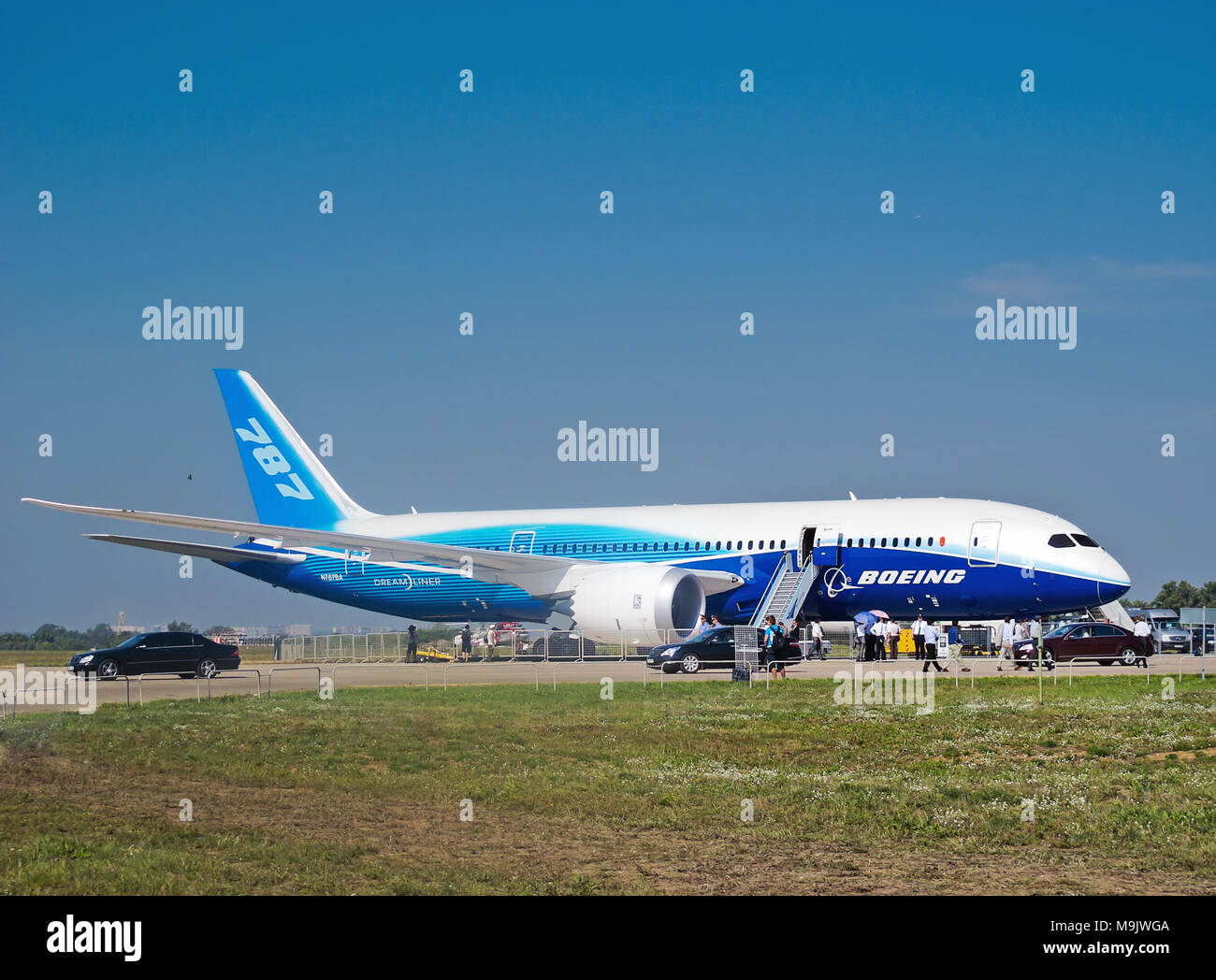 Boeing 787 Dreamliner at International Aviation & Space Salon in Moscow, August 16 2011, Russia Stock Photo