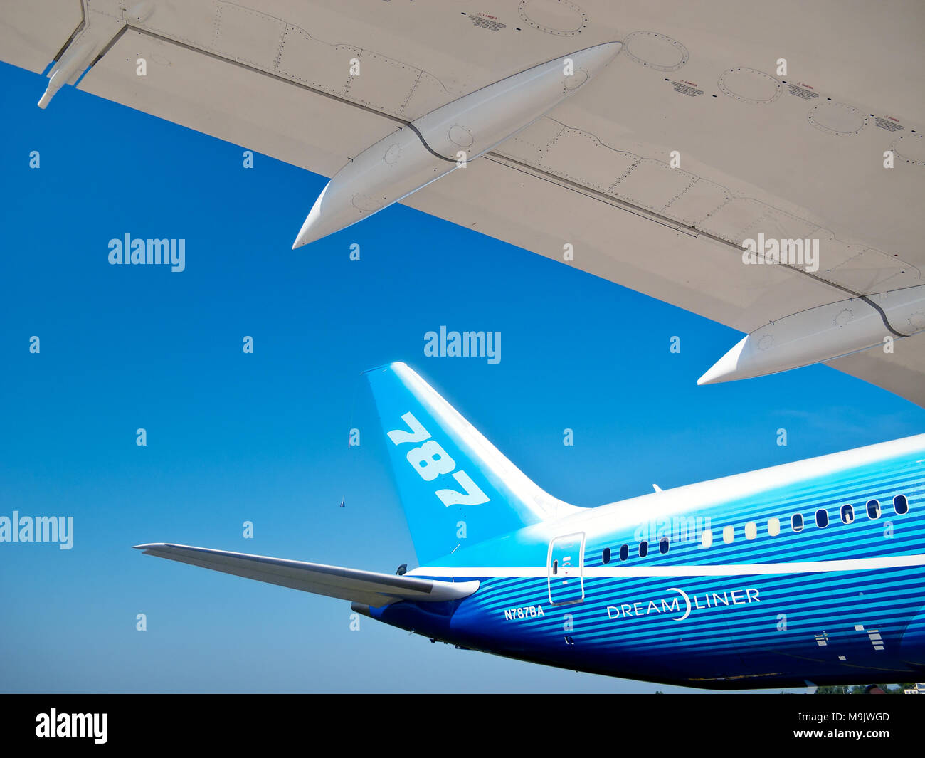 Tail and wing of Boeing Dreamliner at International Aviation & Space Salon in Moscow MAKS, August 16 2011, Russia Stock Photo