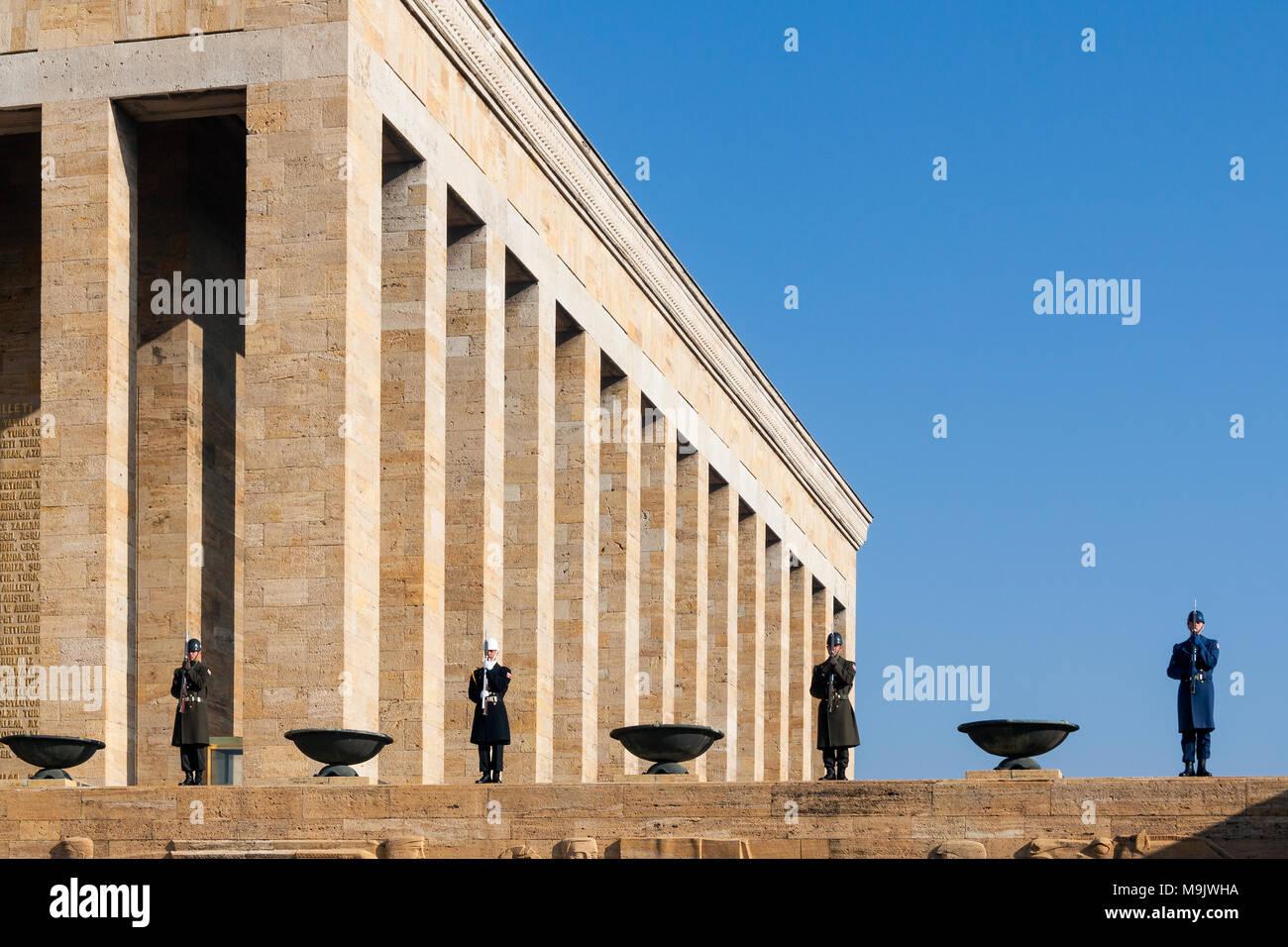 Ataturk Mausoleum in Ankara, Turkey. Tthe Anitkabir, tomb of Mustafa Kemal Ataturk and the guardsmen Stock Photo