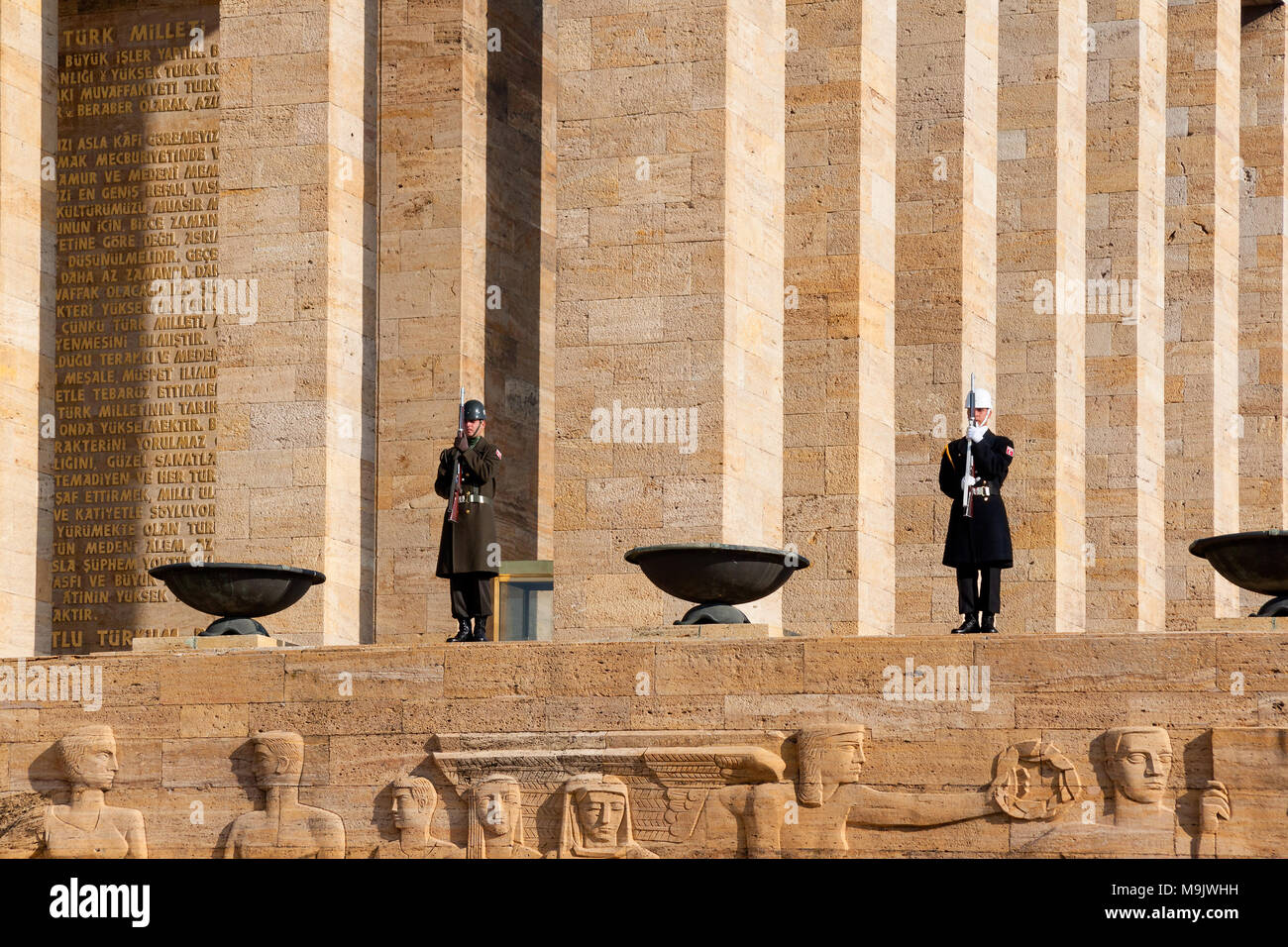 Guardsmen of Ataturk Mausoleum, Anitkabir, monumental tomb of Mustafa Kemal Ataturk. ANKARA, TURKEY - DECEMBER 08, 2010 Stock Photo