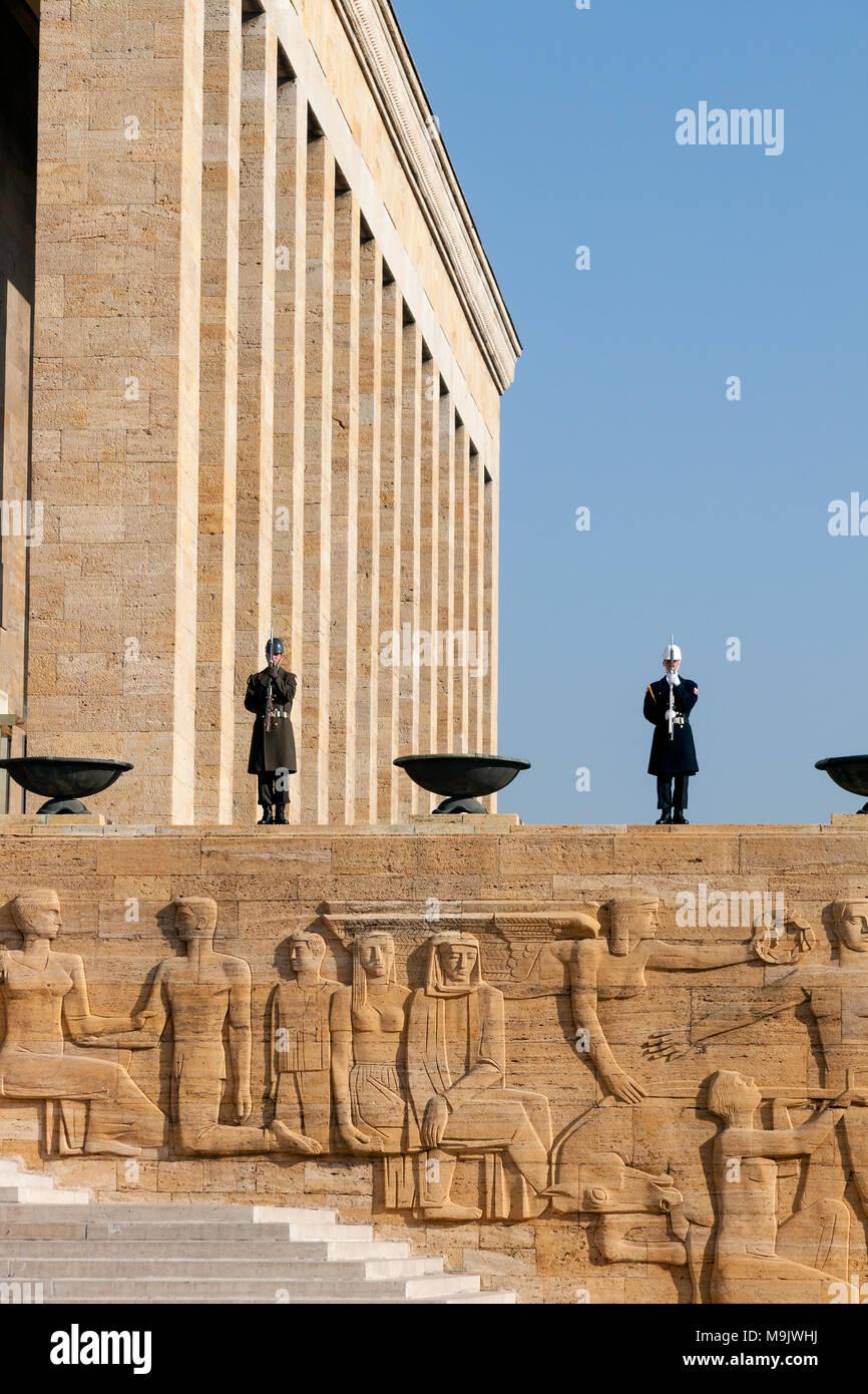 Guardsmen of Ataturk Mausoleum, Anitkabir, monumental tomb of Mustafa Kemal Ataturk first president of Turkey. ANKARA, TURKEY - DECEMBER 08, 2010 - Stock Image