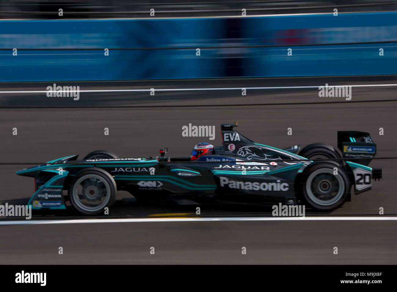 Formula e car during e-prix in mexico - Stock Image