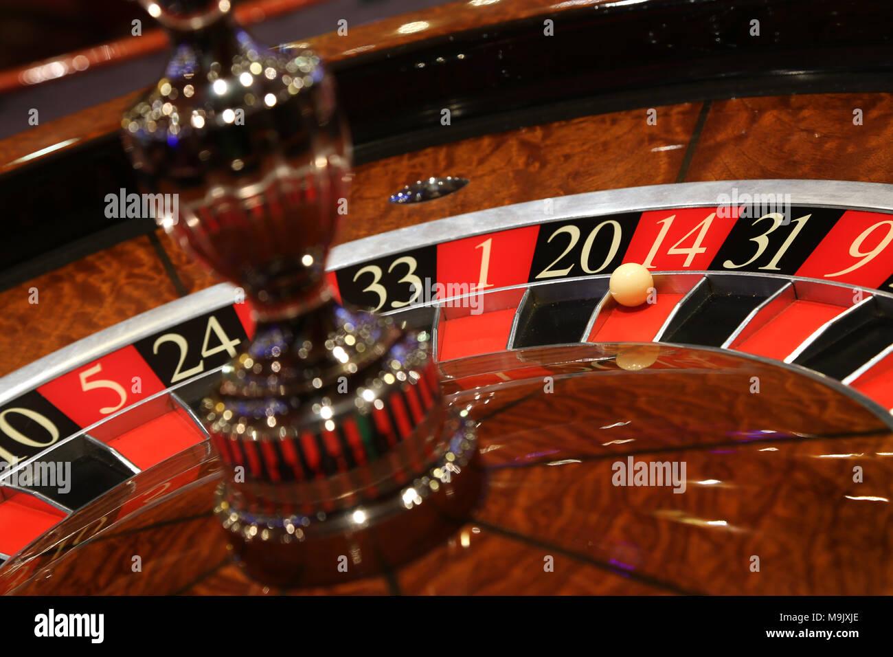 Static roulette in casino. - Stock Image